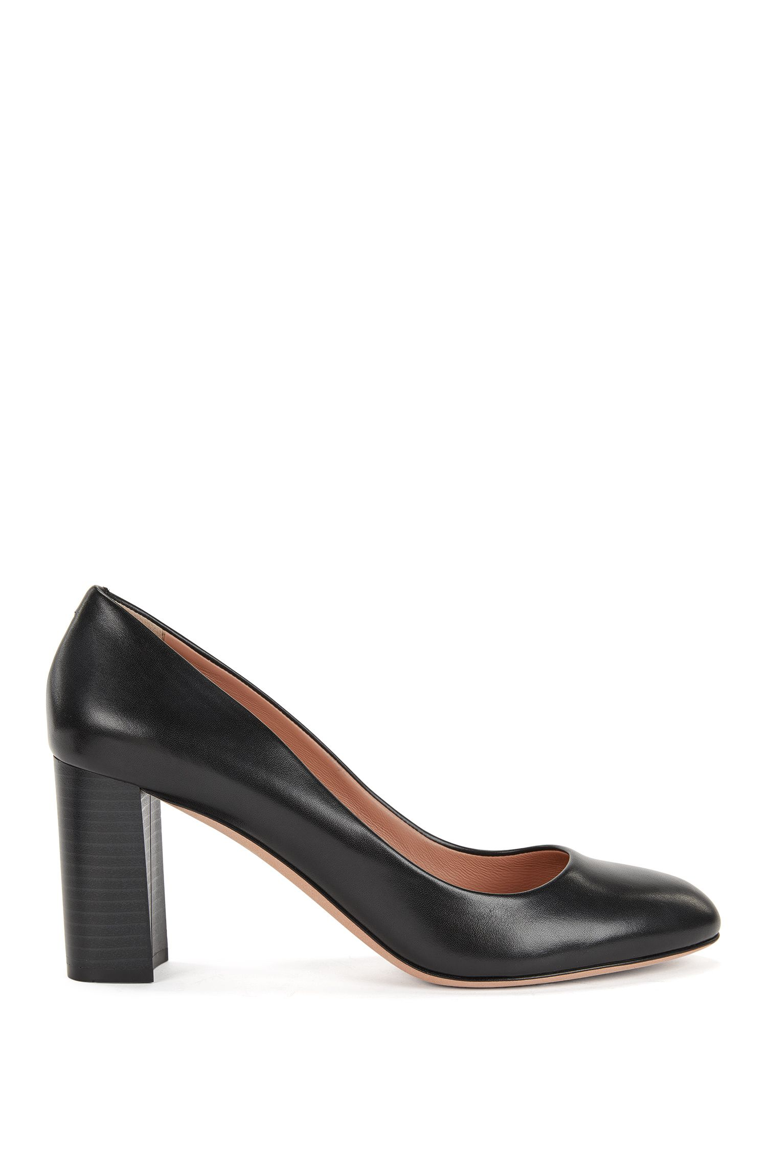 Leather Mid-Heel Pump | Farah