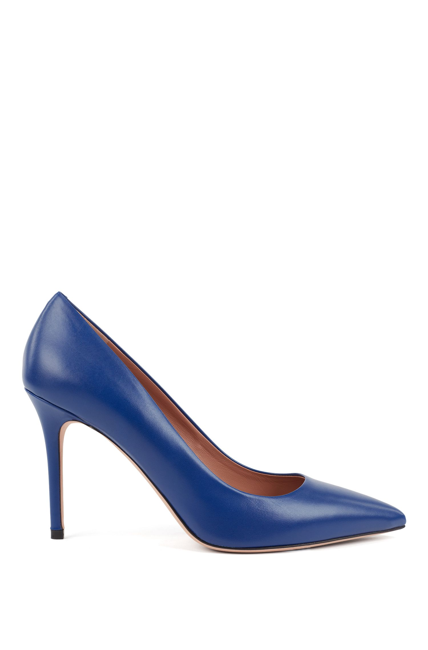 Pointed-toe pumps in Italian leather, Blue