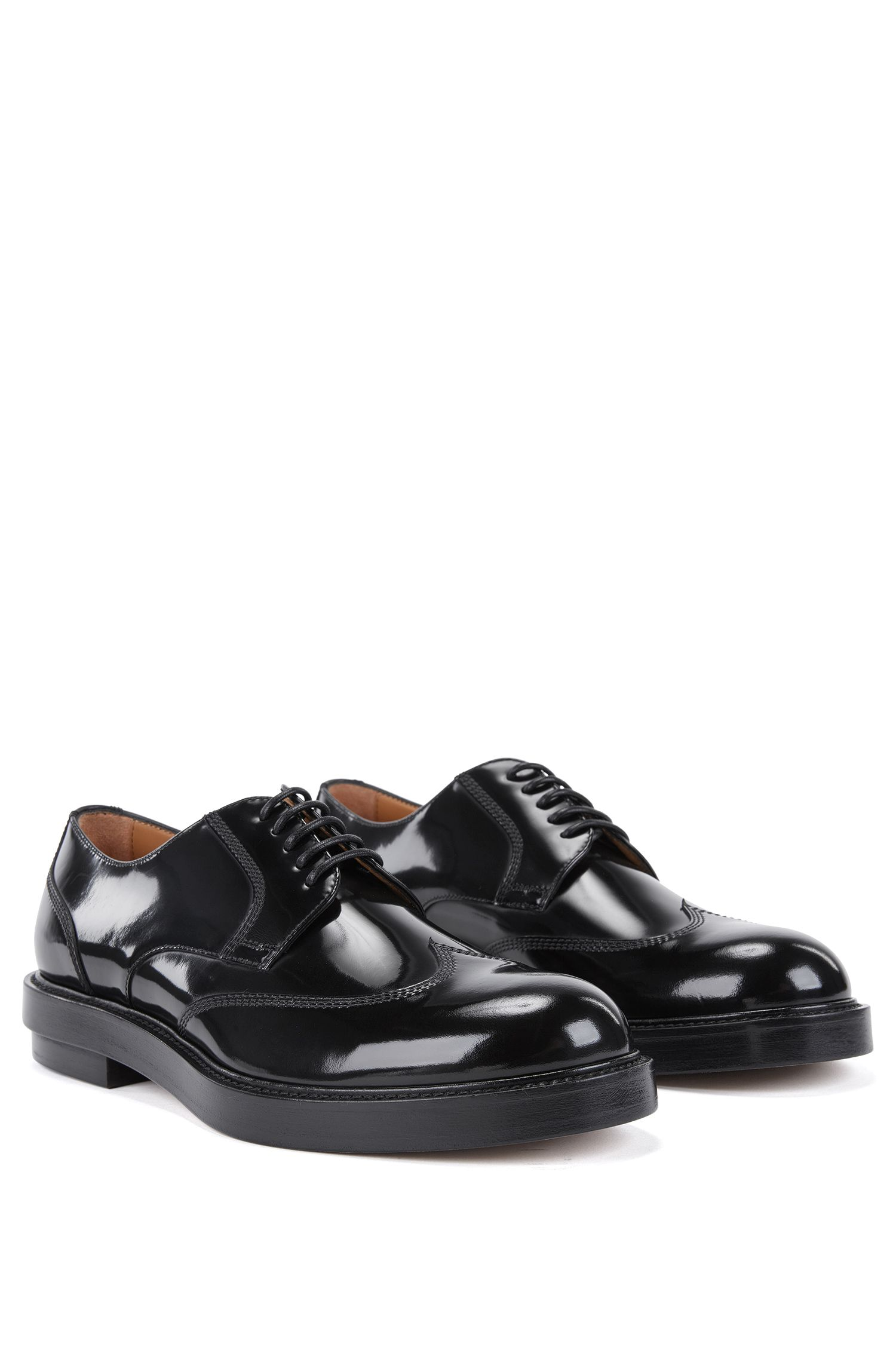 Wingtip Derby shoes in brush-off leather | 'Twister', Black