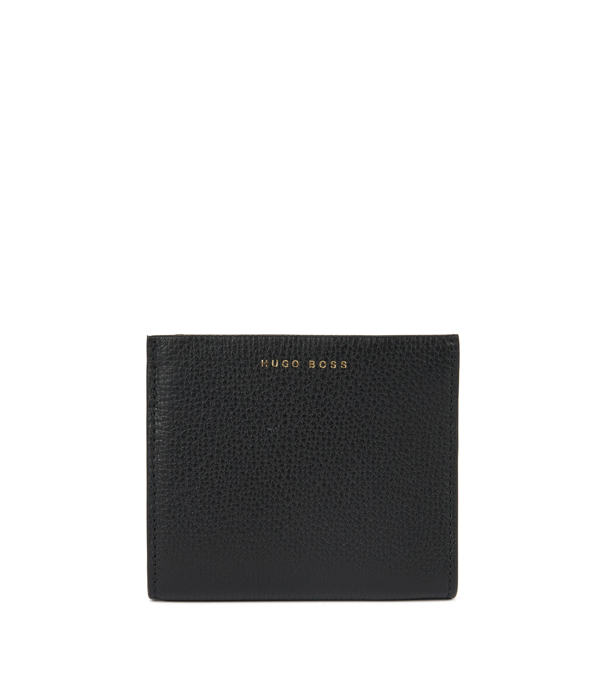 Zipped Leather Bifold Wallet | Taylor Small Wallet, Black