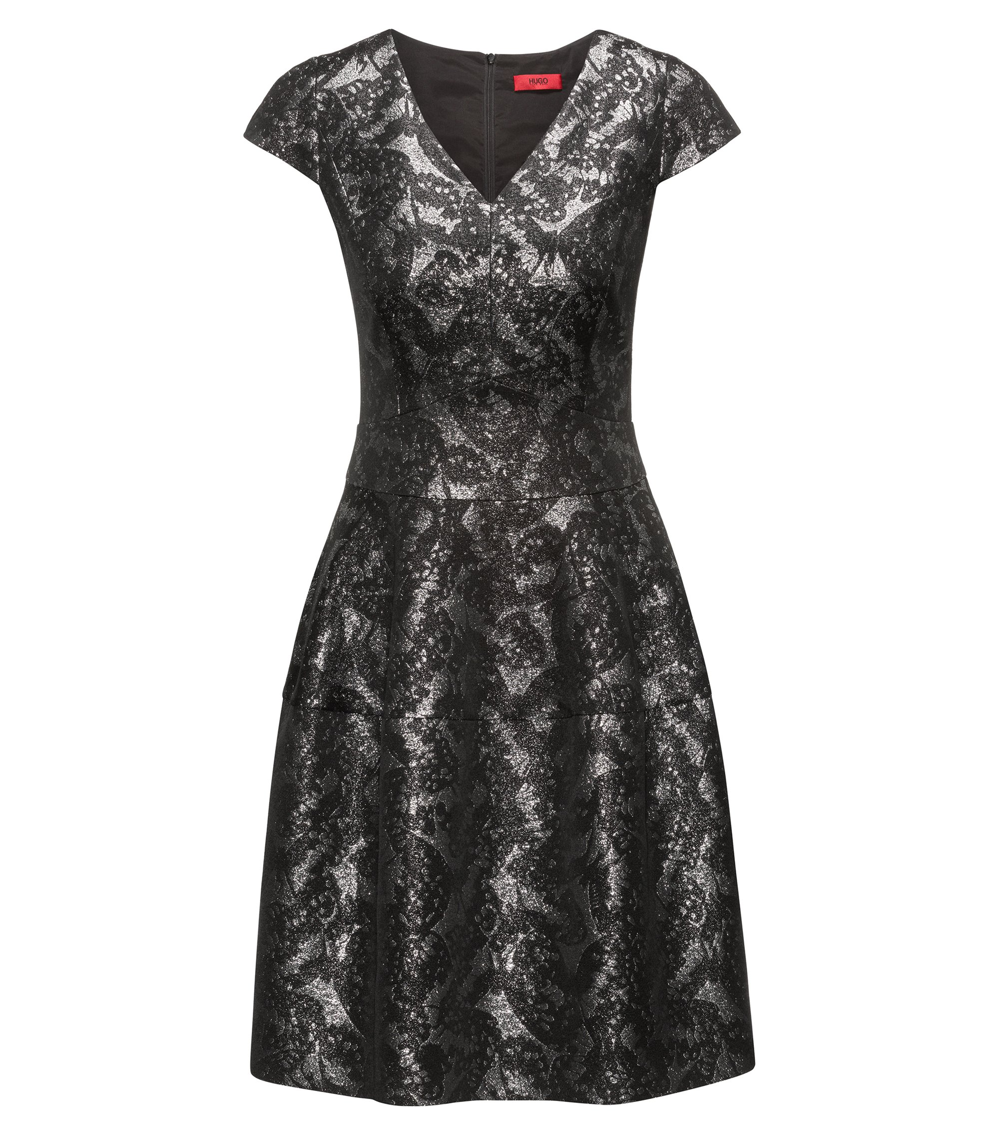 Patterned Jaquard Dress | Konelly, Black