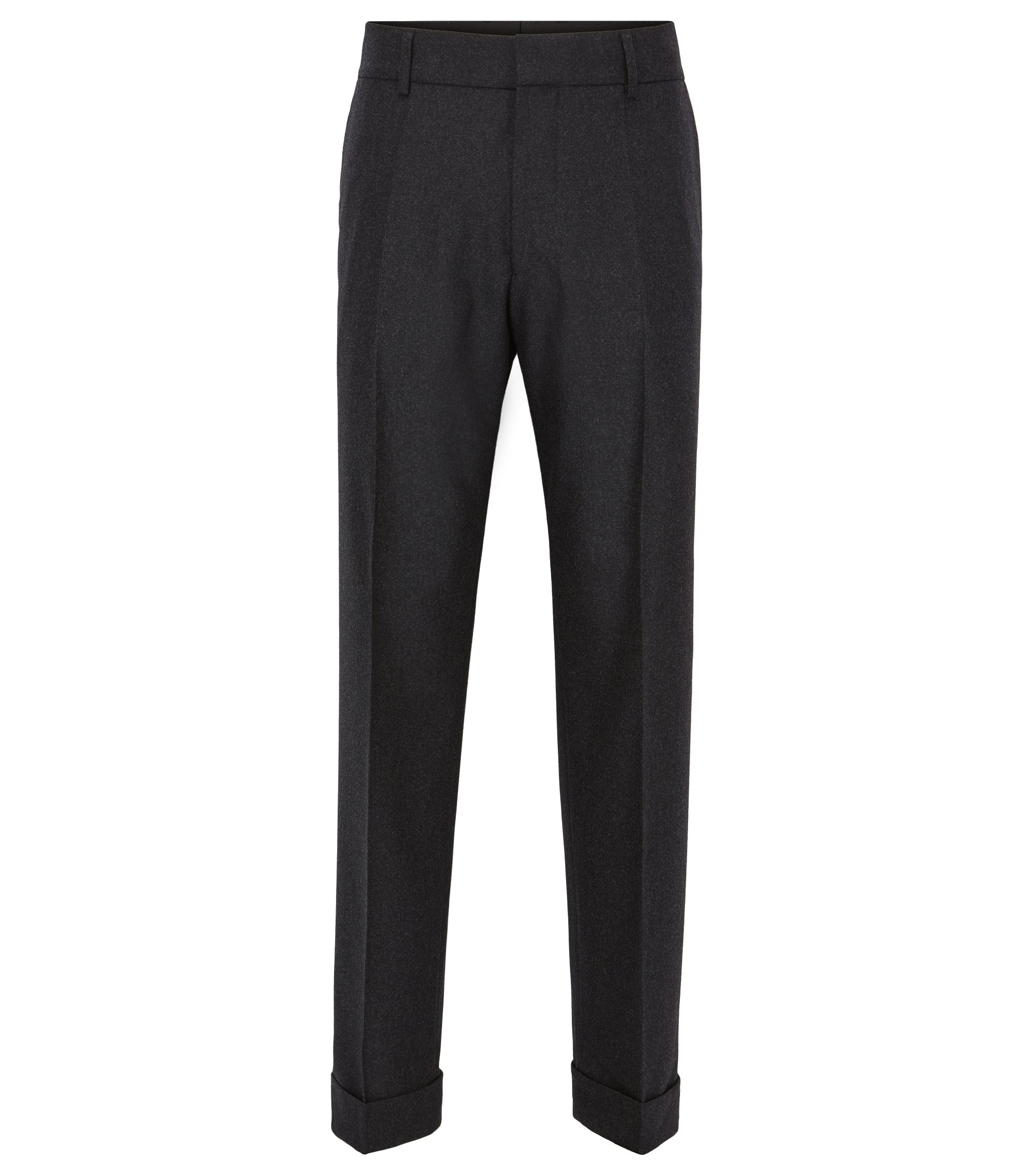Stretch Virgin Wool-Cashmere Dress Pant | Point, Dark Grey
