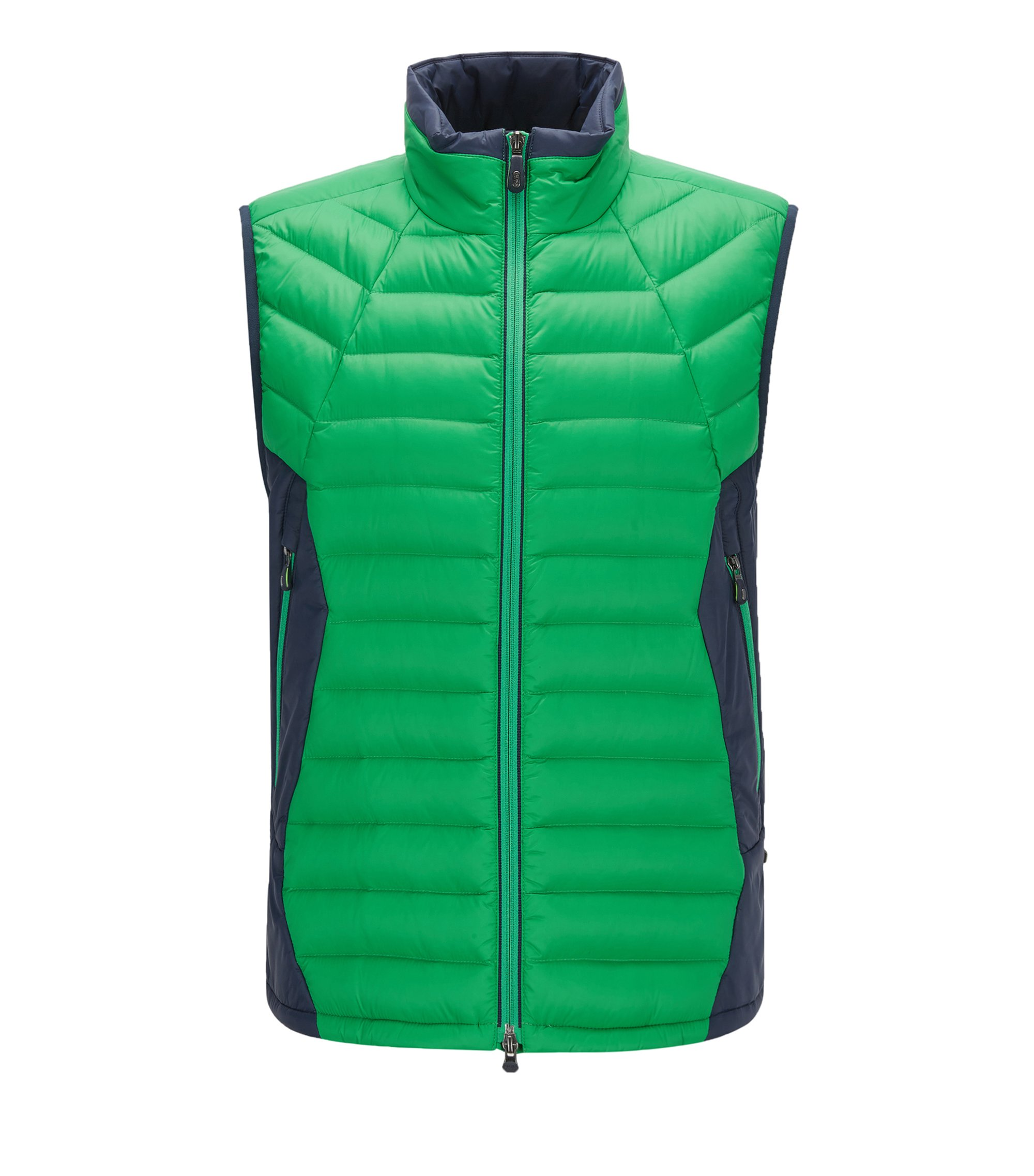 Colorblocked Nylon Down Vest | Vestone, Green