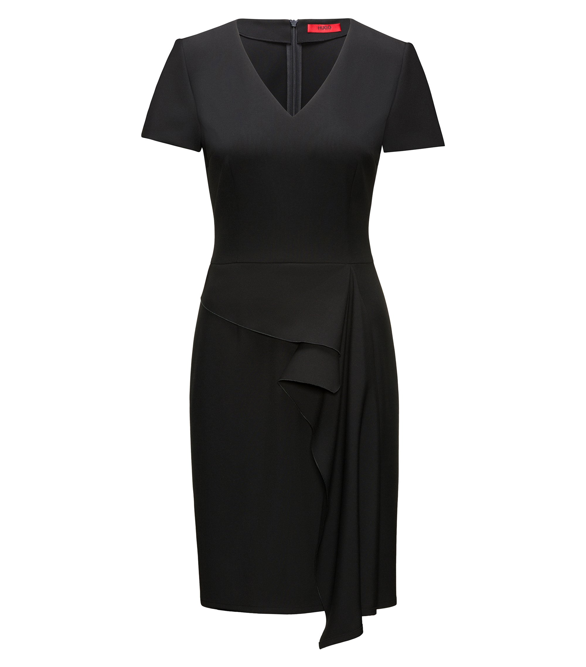 Ruffle-Front V-Neck Dress | Kibelli, Black