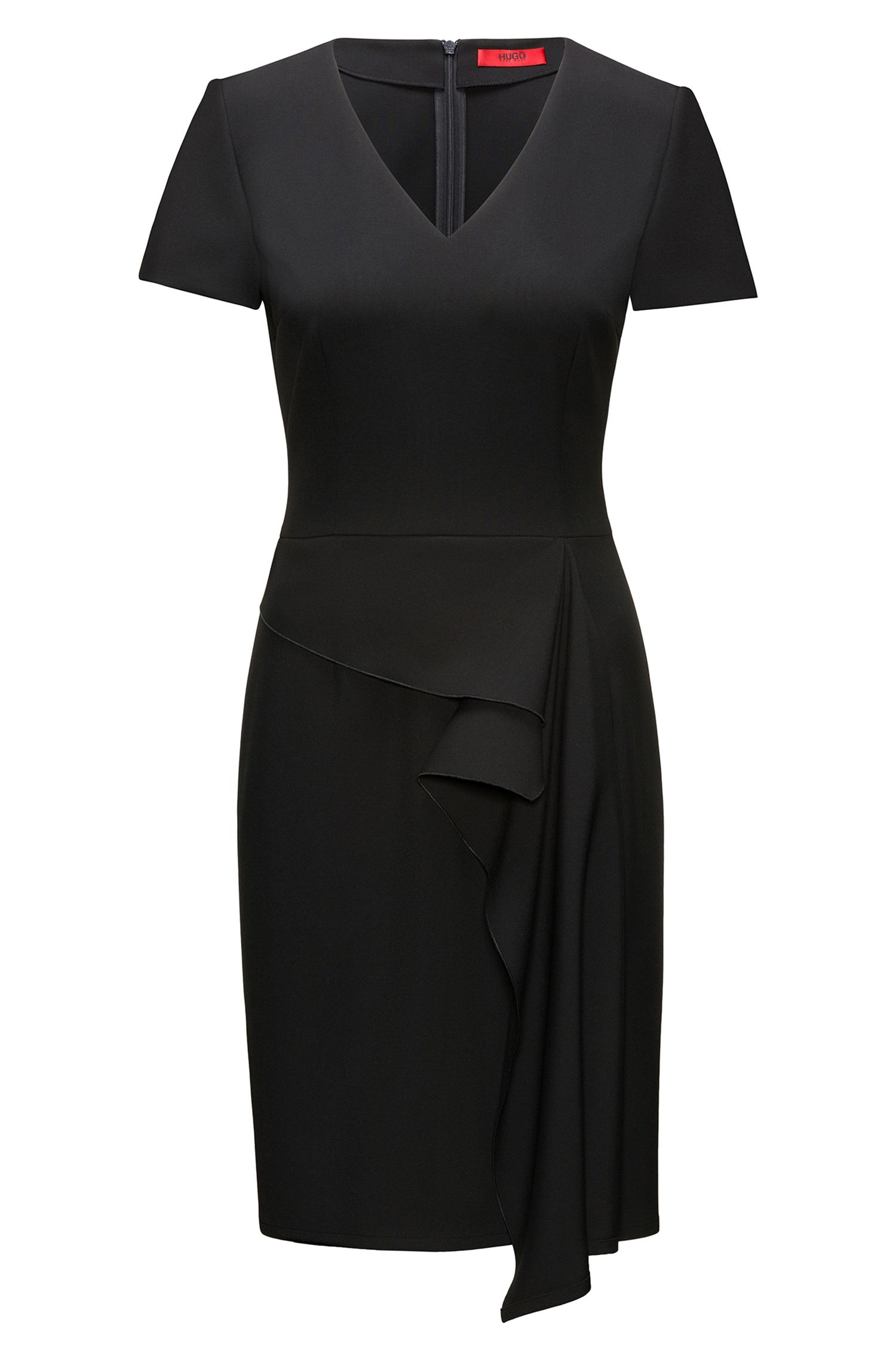 Ruffle-Front V-Neck Dress | Kibelli, Black