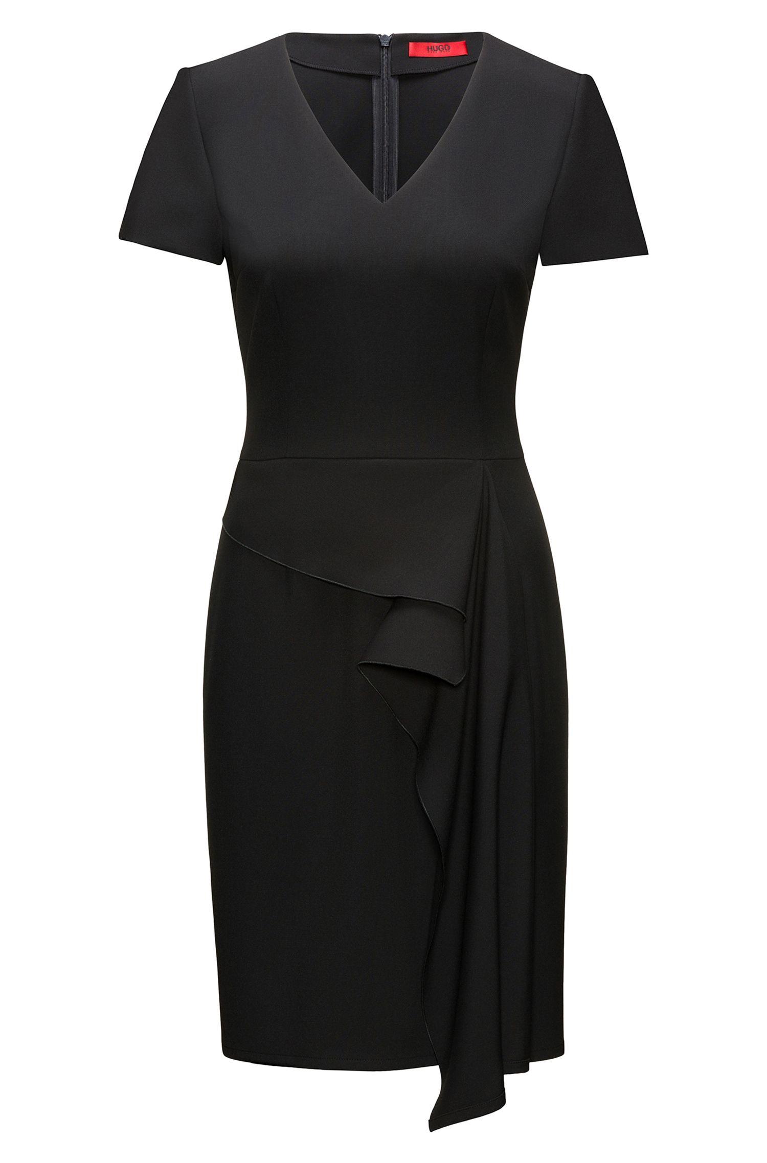 Ruffle-Front V-Neck Dress | Kibelli