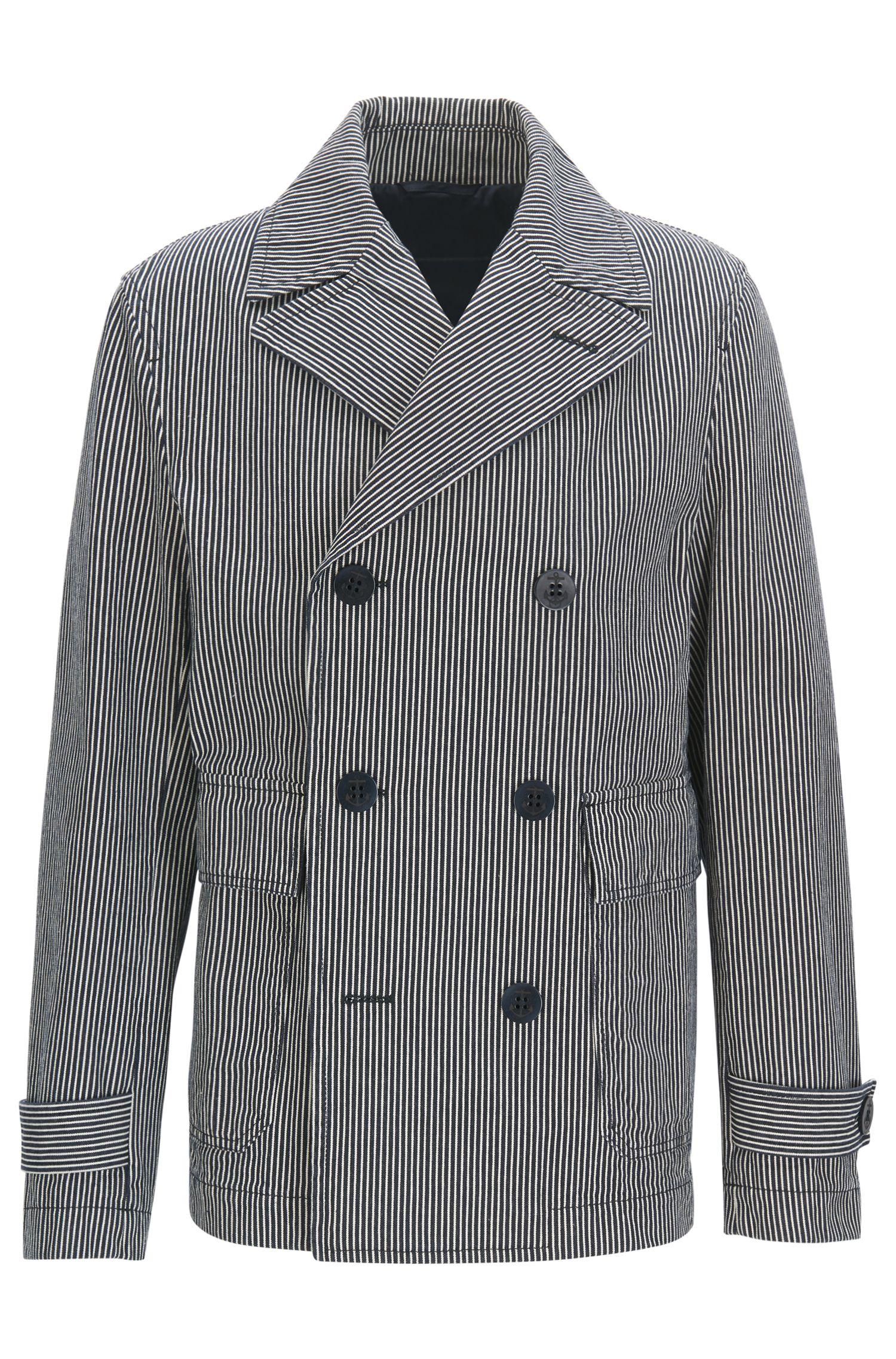 Striped Cotton Peacoat   Cabasso W
