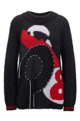 Mohair Blend Chunky Sweater   Fracer, Black