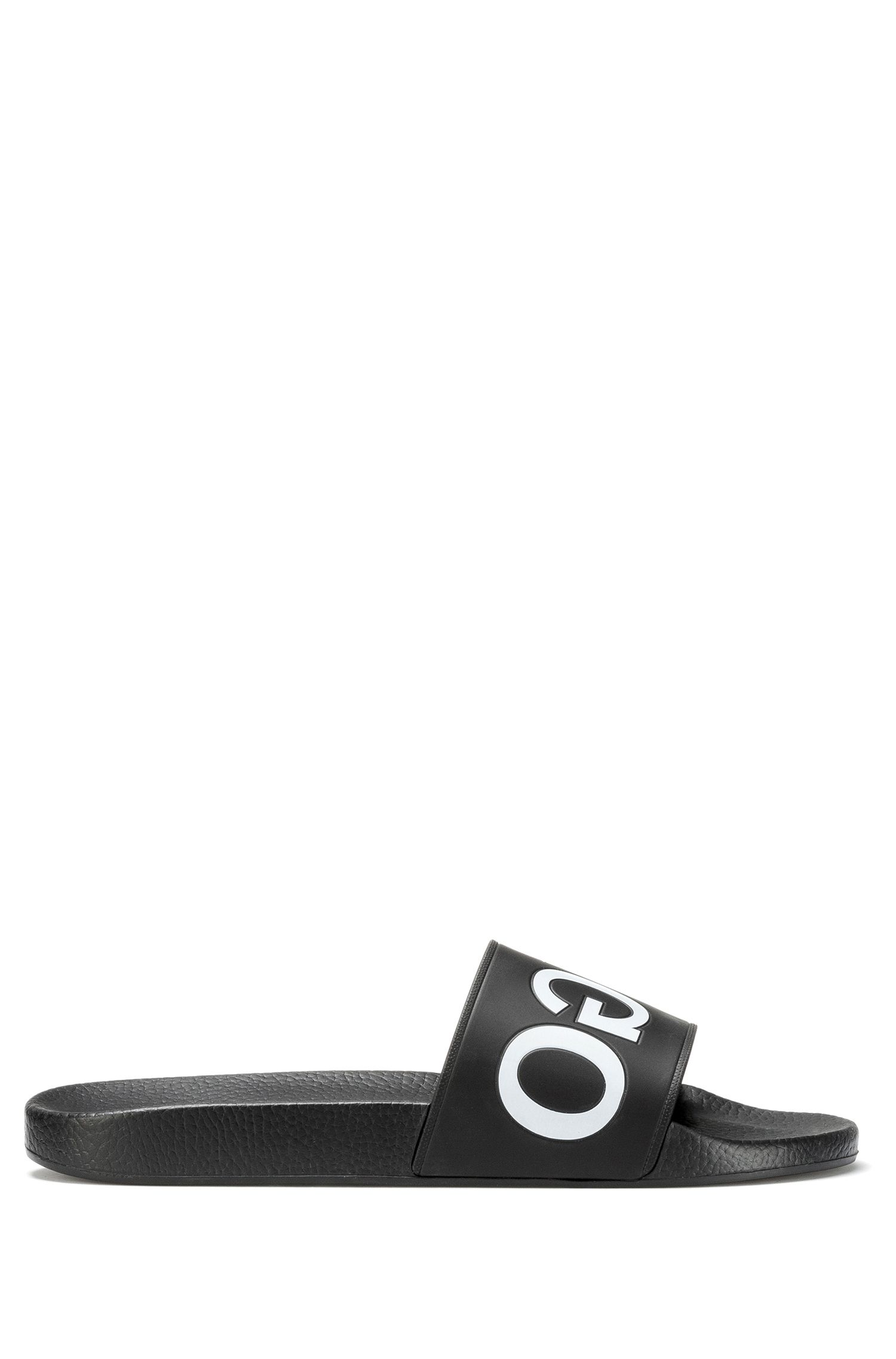 Reverse-logo pool slider sandals, Black