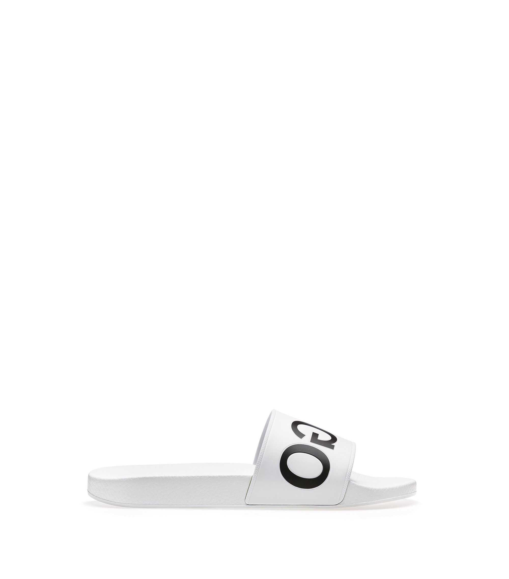 Reverse-logo pool slider sandals, White