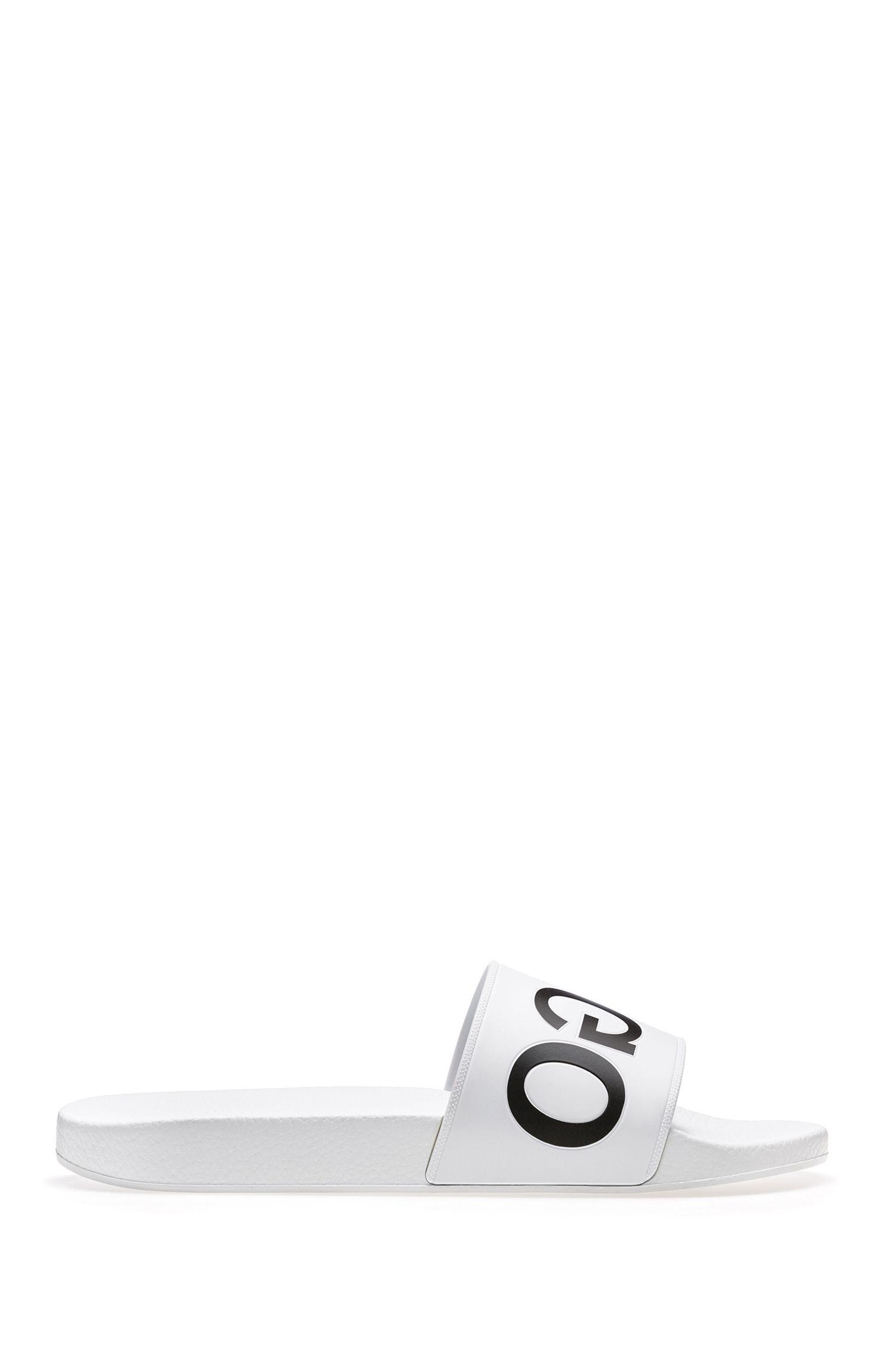 Reverse-logo pool slider sandals, White