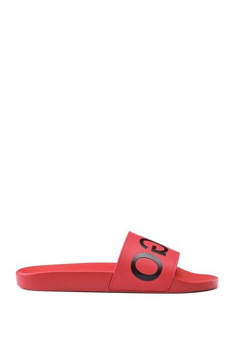 Reverse-logo pool slider sandals, Red