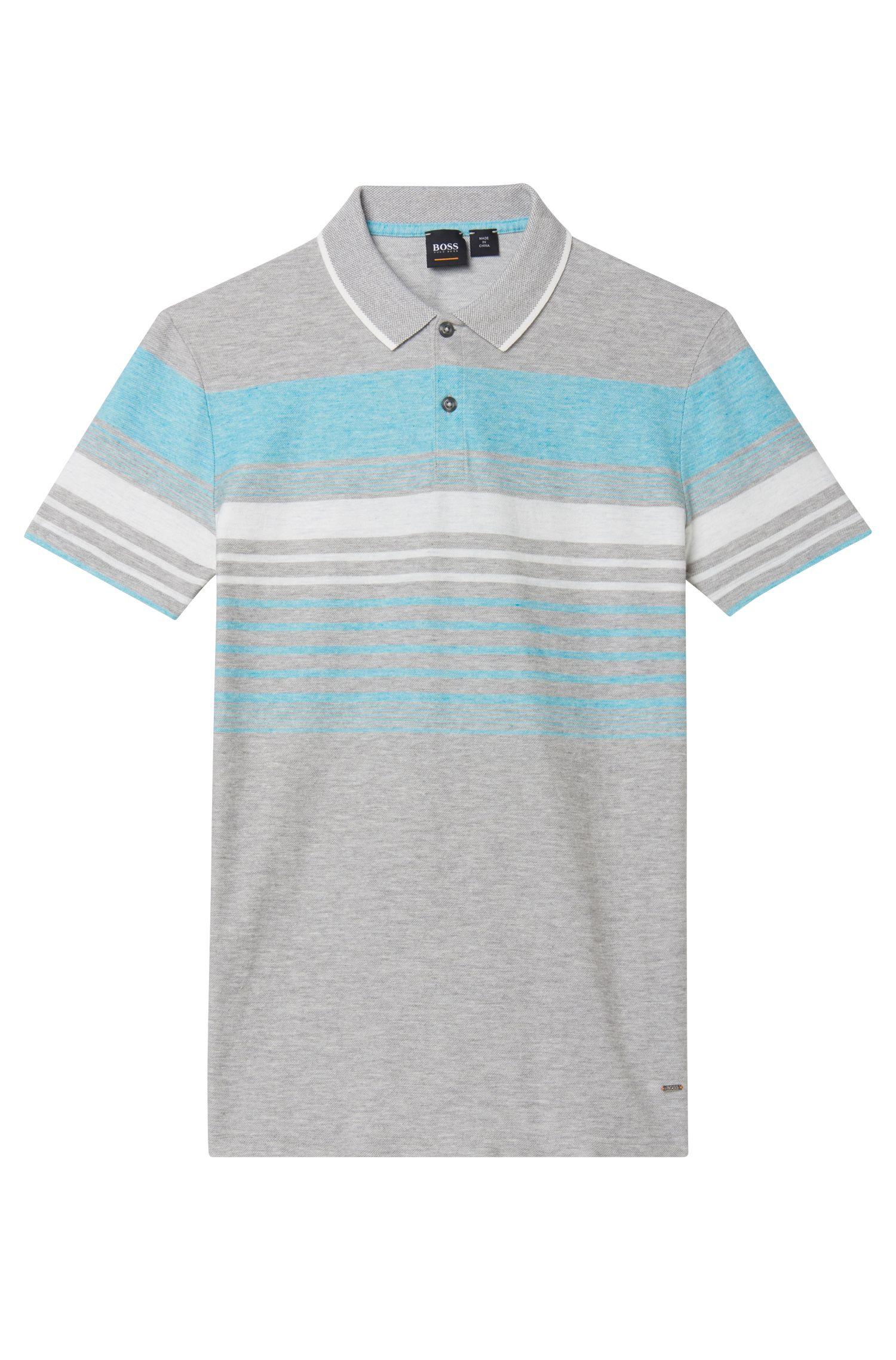 Cotton Linen Polo Shirt, Relaxed Fit | Pilak, Light Grey