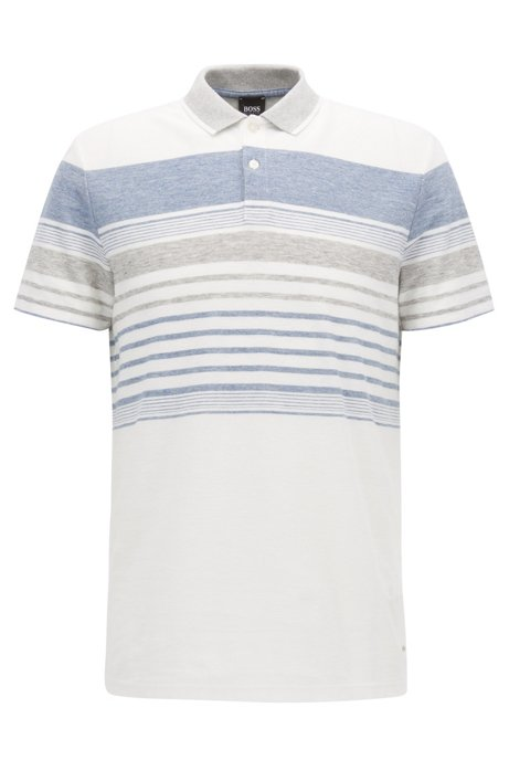 Boss Cotton Linen Polo Shirt Relaxed Fit Pilak