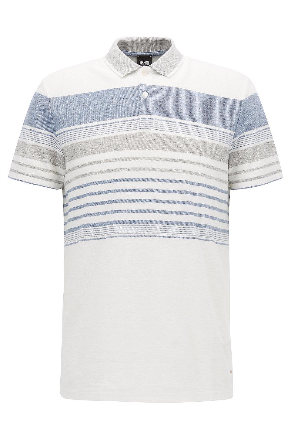 Boss Cotton Linen Polo Shirt Relaxed Fit Pilak