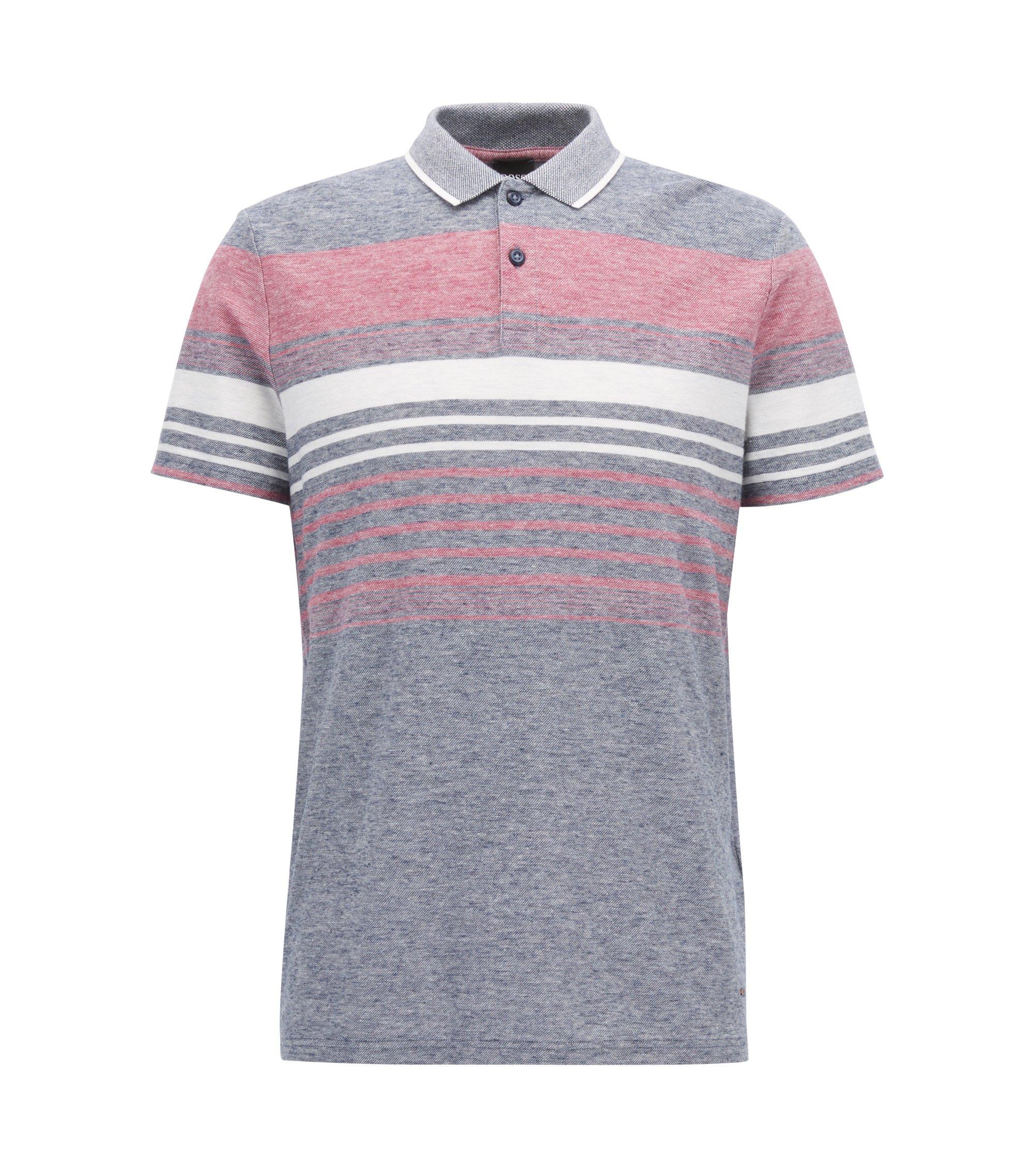 Cotton Linen Polo Shirt, Relaxed Fit | Pilak, Dark Blue