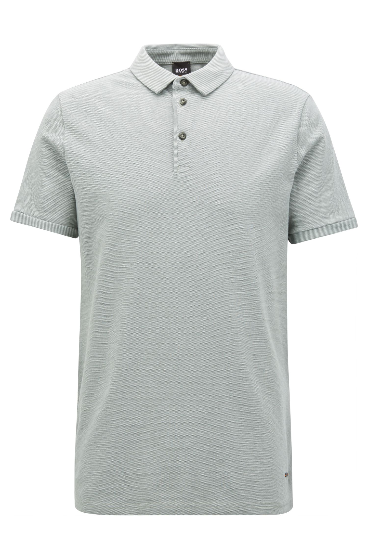 Stretch Cotton Piqué Polo Shirt, Slim Fit | Proses, Light Green