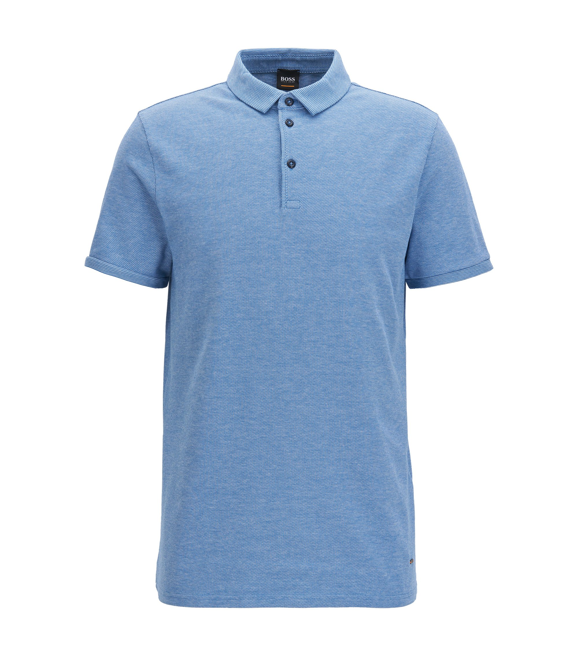 Stretch Cotton Piqué Polo Shirt, Slim Fit | Proses, Blue