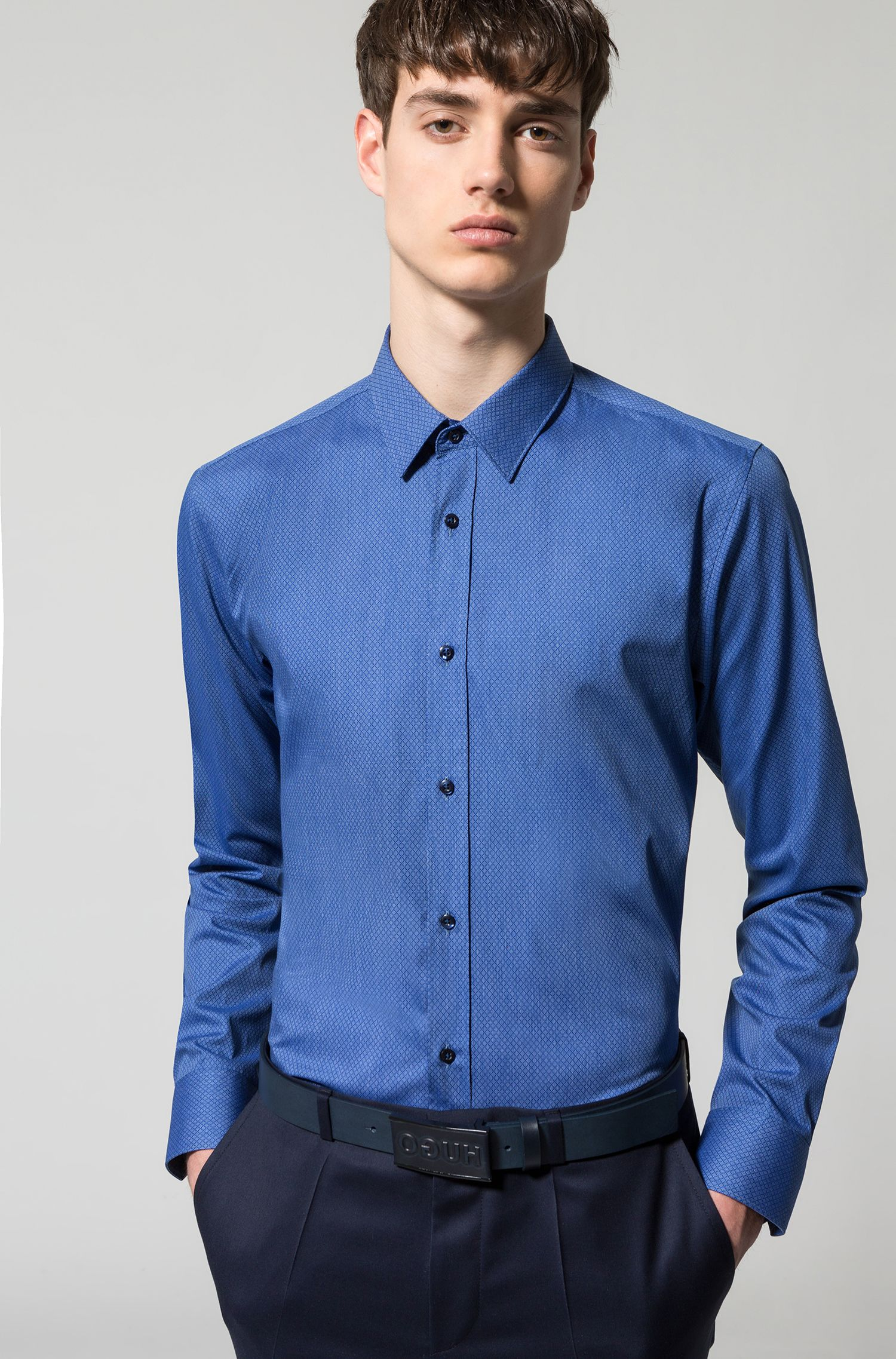 Stretch Cotton Blend Dress Shirt, Extra Slim Fit | Elisha, Dark Blue
