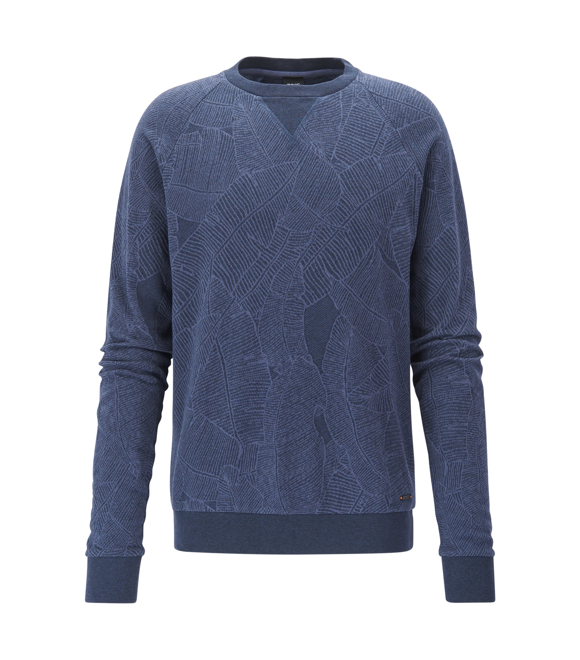 Leaf-Print Cotton Sweatshirt | Wenti, Dark Blue