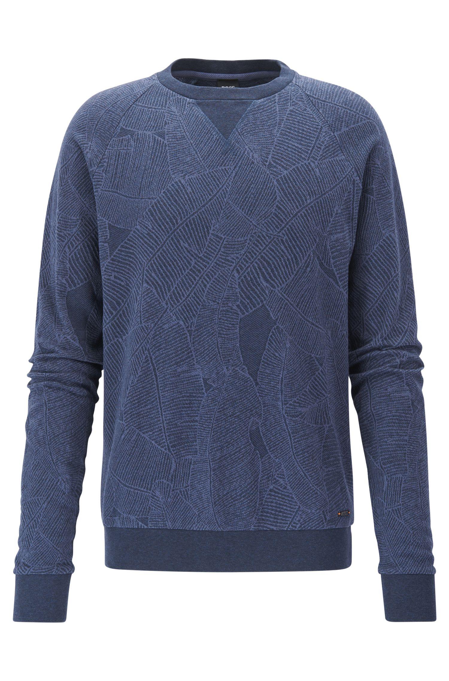 Leaf-Print Cotton Sweatshirt | Wenti, Dark Blue