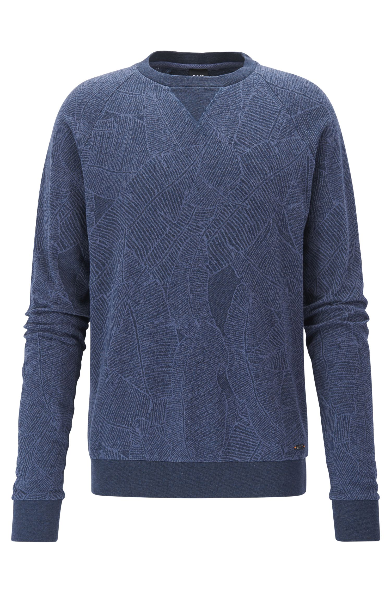 Leaf-Print Cotton Sweatshirt | Wenti