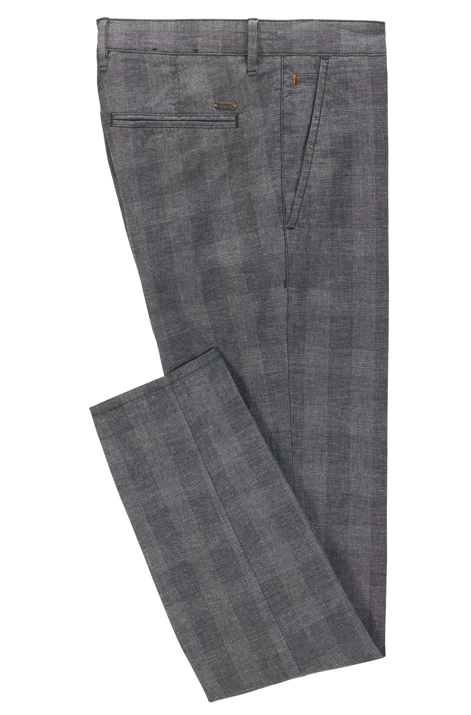 Glen Check Stretch Cotton Pant, Slim Fit | Schino Slim CW, Black
