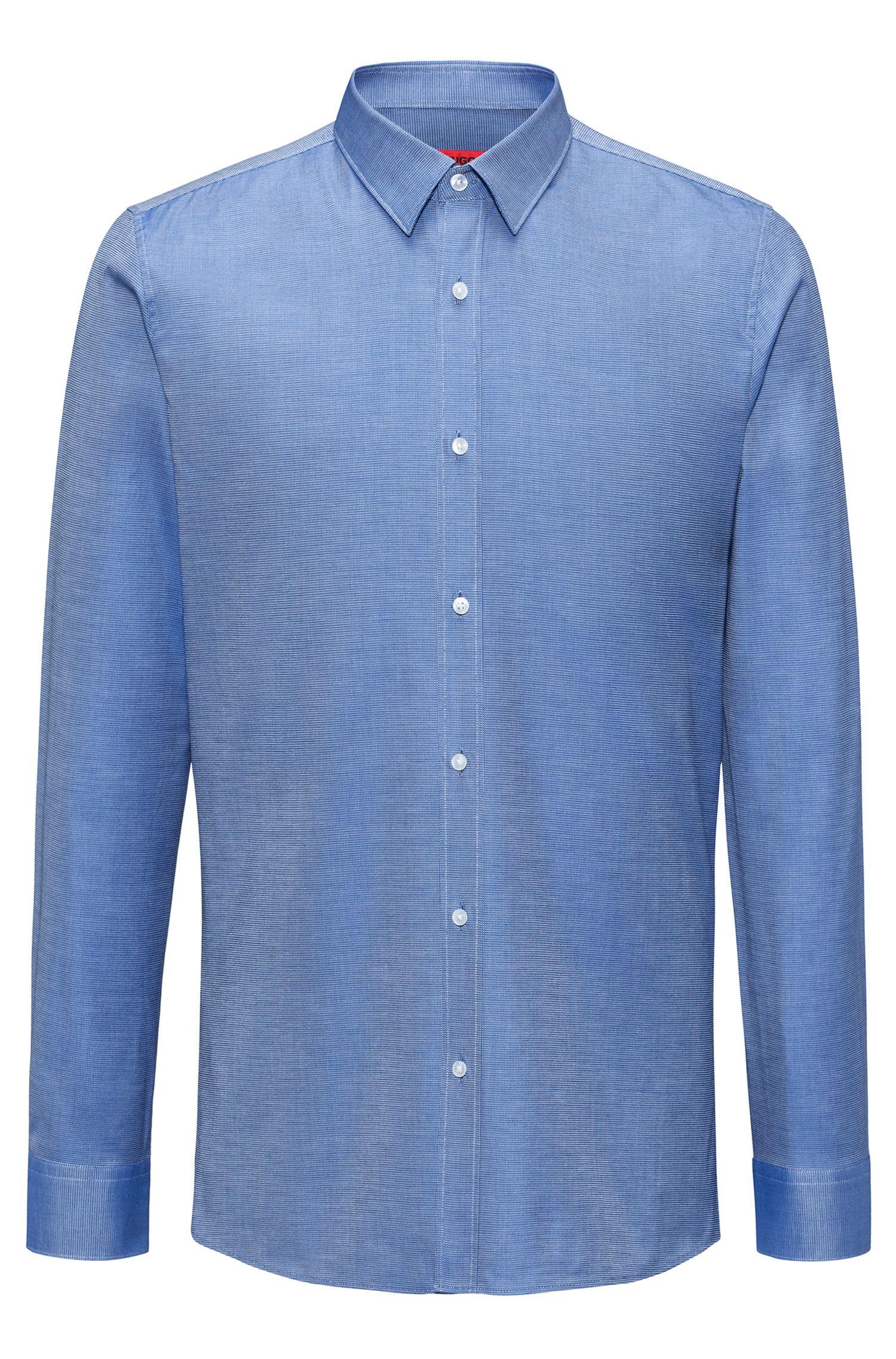Pindot Cotton Dress Shirt, Extra Slim Fit | Elisha, Dark Blue