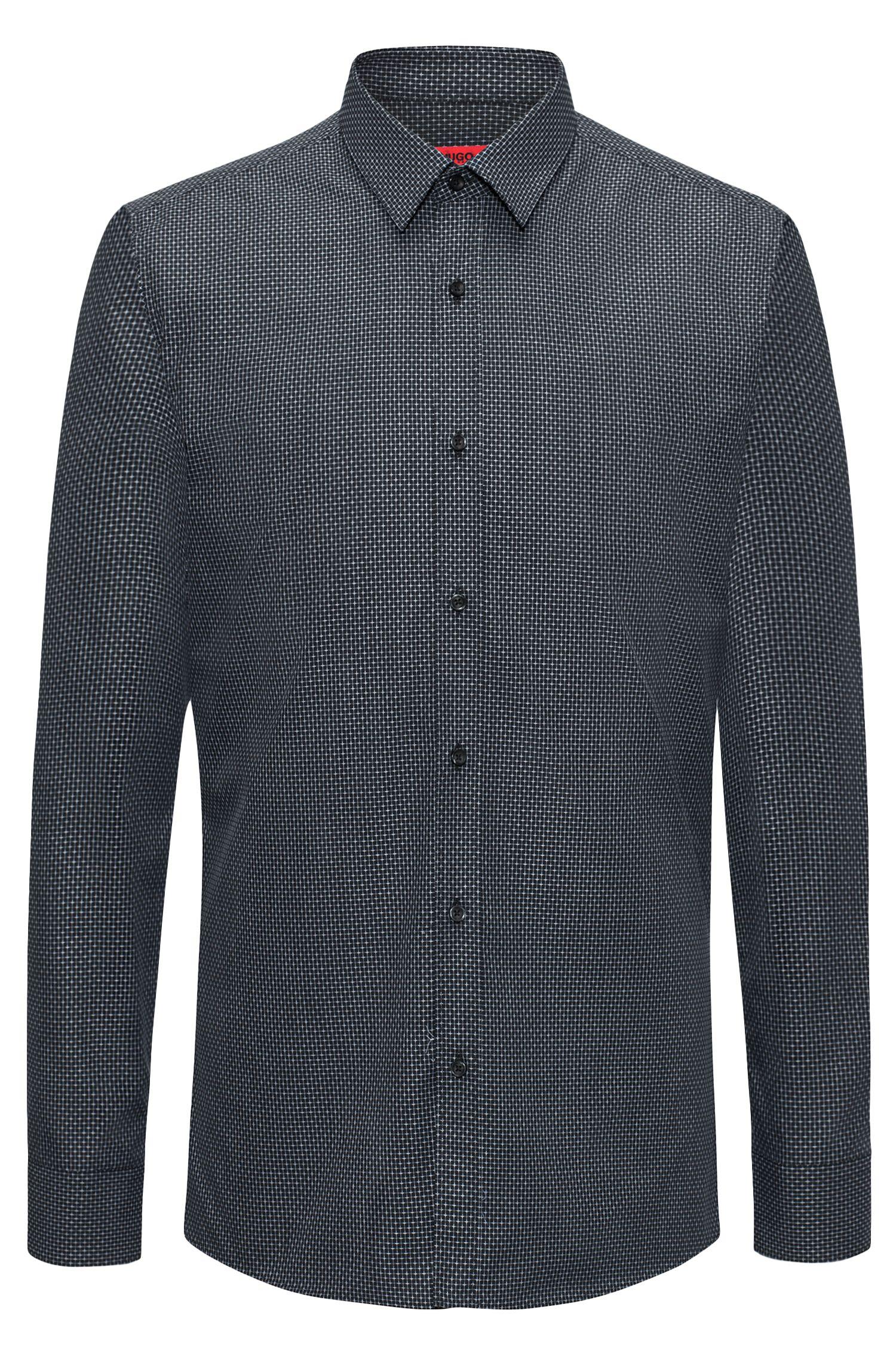 Patterned Cotton Dress Shirt, Extra Slim Fit   Elisha