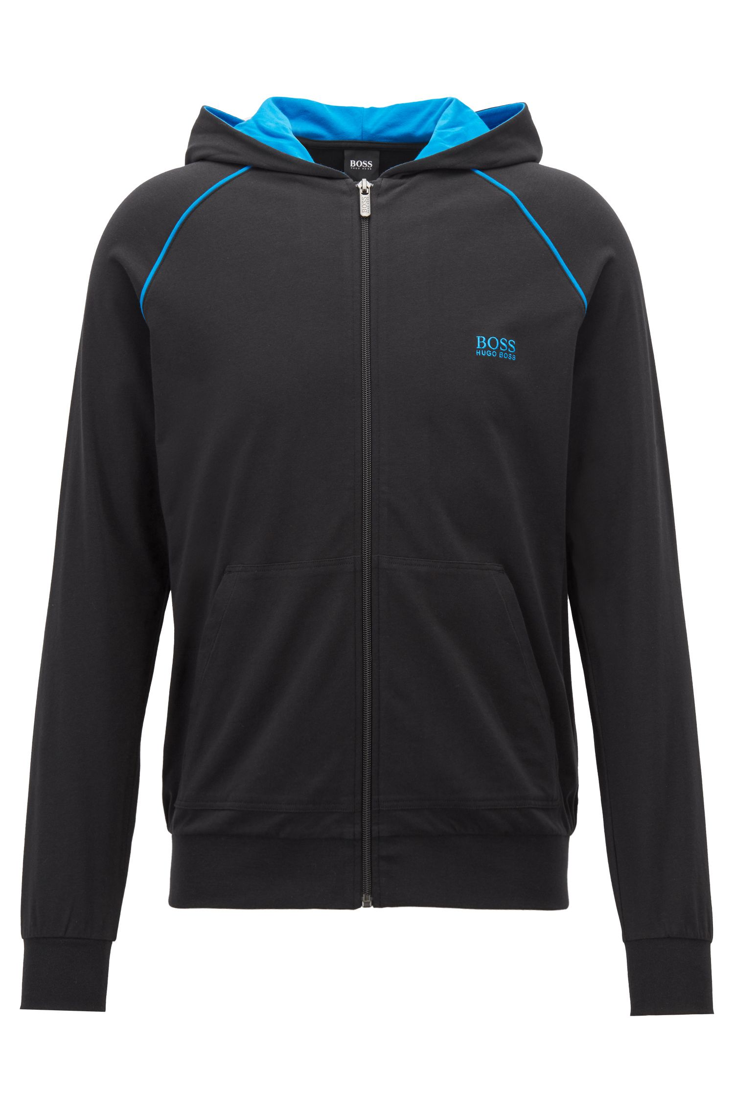 Zip-up hoodie in stretch cotton jersey with contrast piping, Black