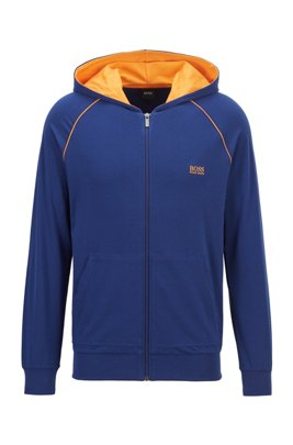 Zip-through hoodie in stretch cotton jersey with contrast piping, Blue
