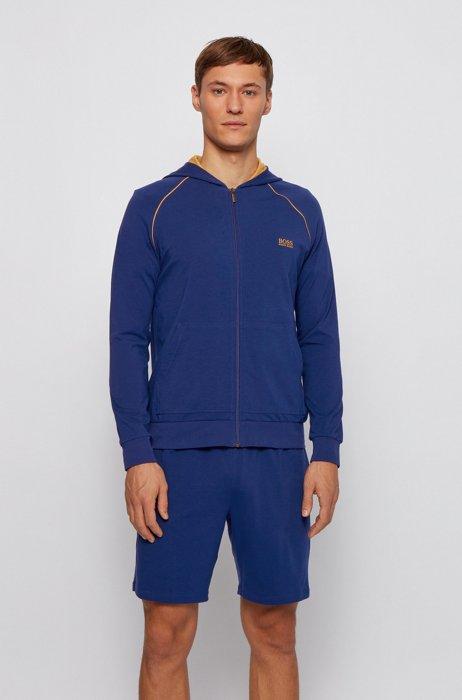 Veste zippée à capuche en jersey de coton stretch, à passepoils contrastants, Bleu