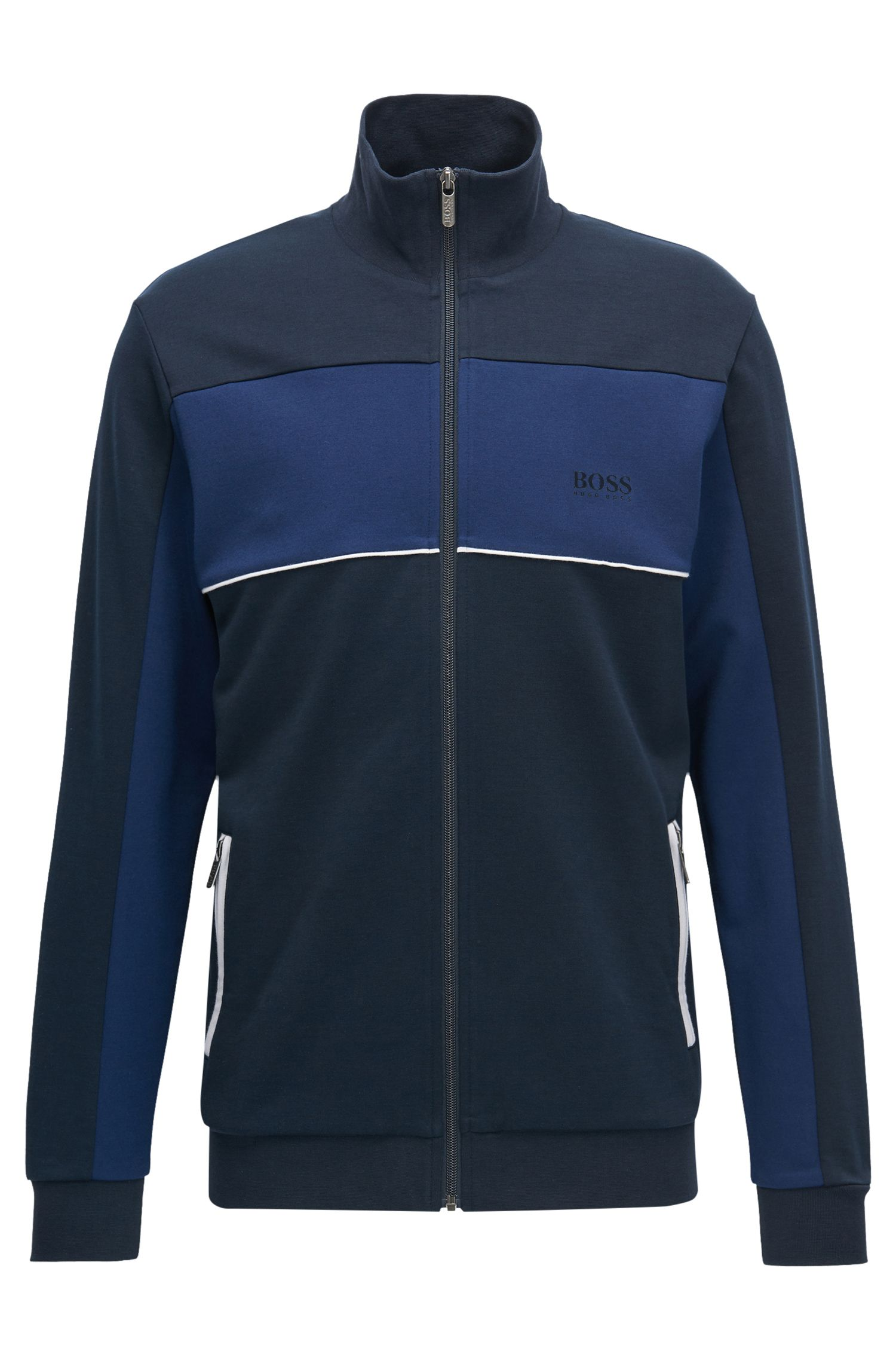 Cotton Blend Track Jacket | Tracksuit Jacket , Dark Blue