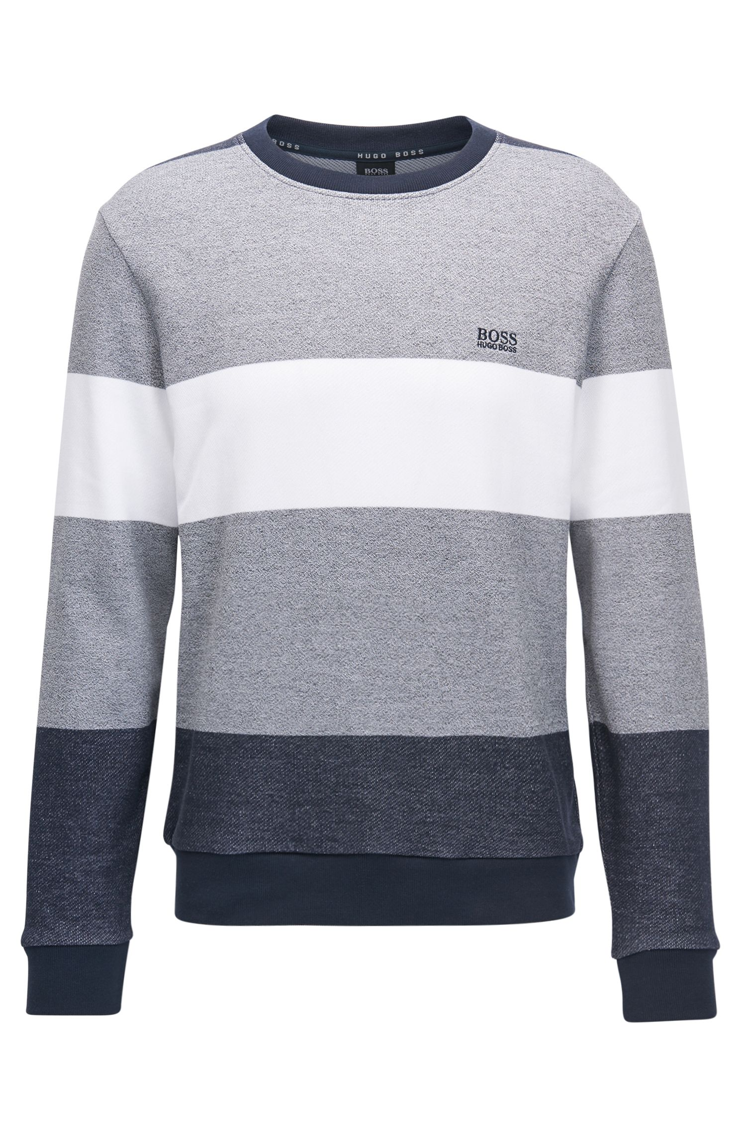French Terry Colorblocked Cotton Sweatshirt | Nautical Sweatshirt, Grey