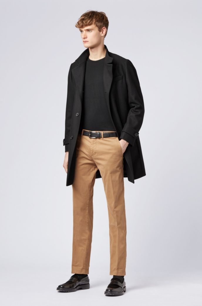 Long-length coat in a virgin-wool blend