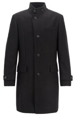 Long-length coat in a virgin-wool blend, Black