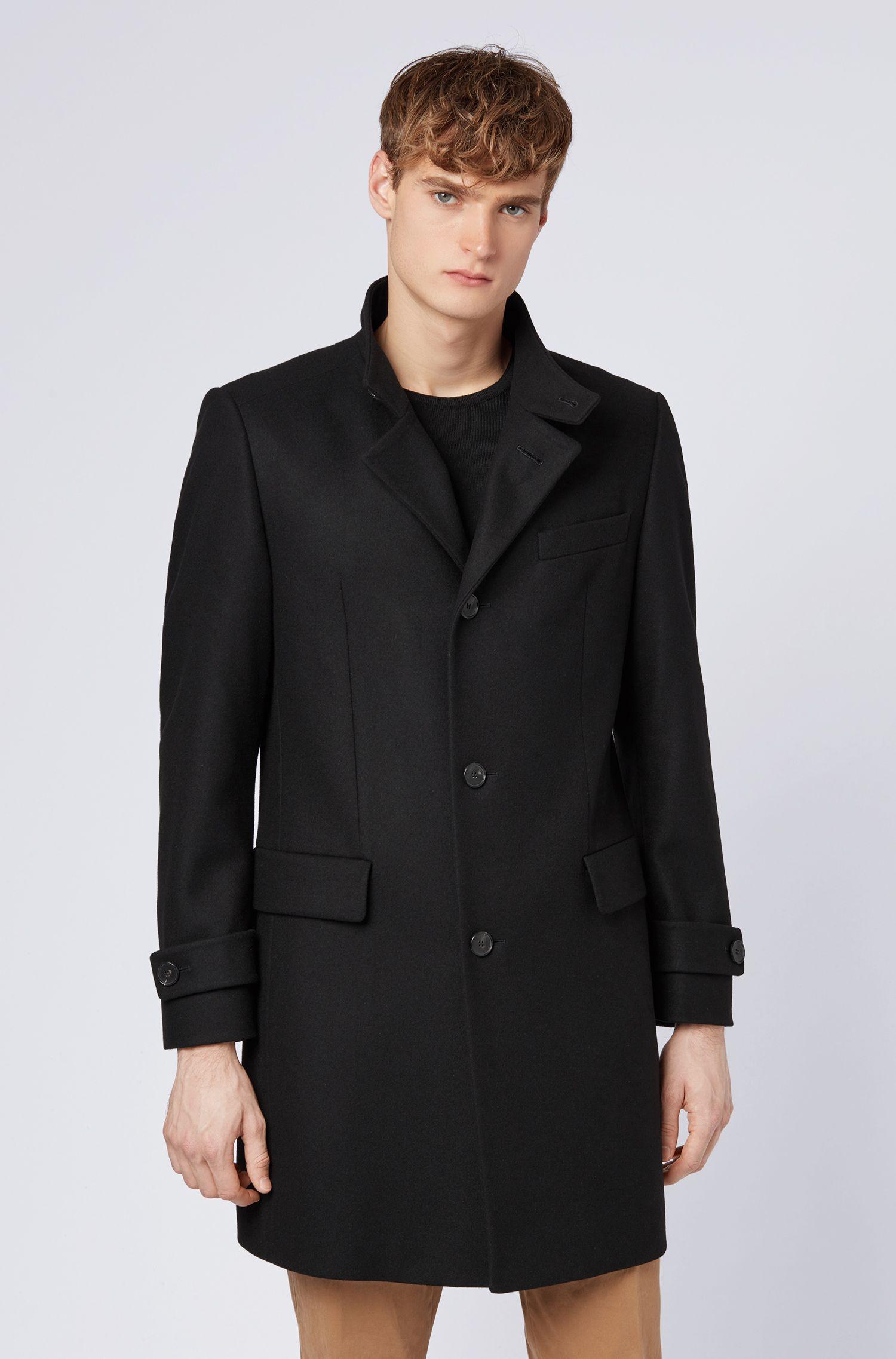 Long-length coat in a virgin-wool blend, Black