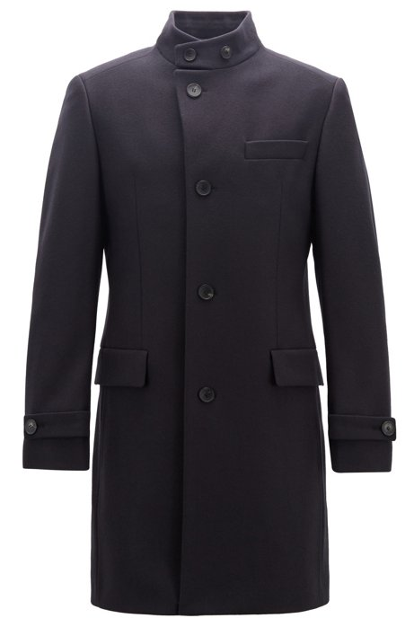 Long-length coat in a virgin-wool blend, Dark Blue