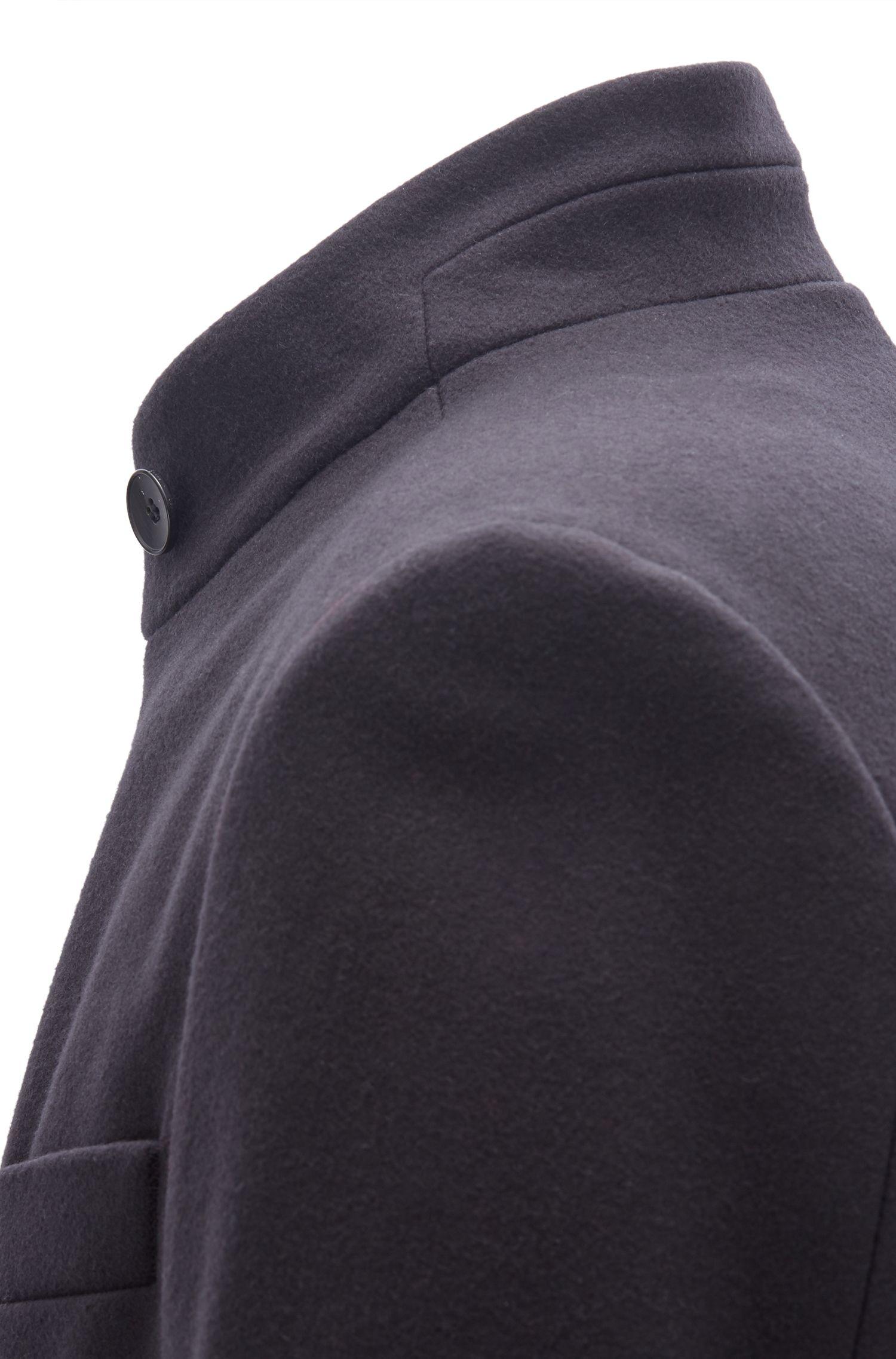 Long-length coat in a virgin-wool blend, Dark Blue