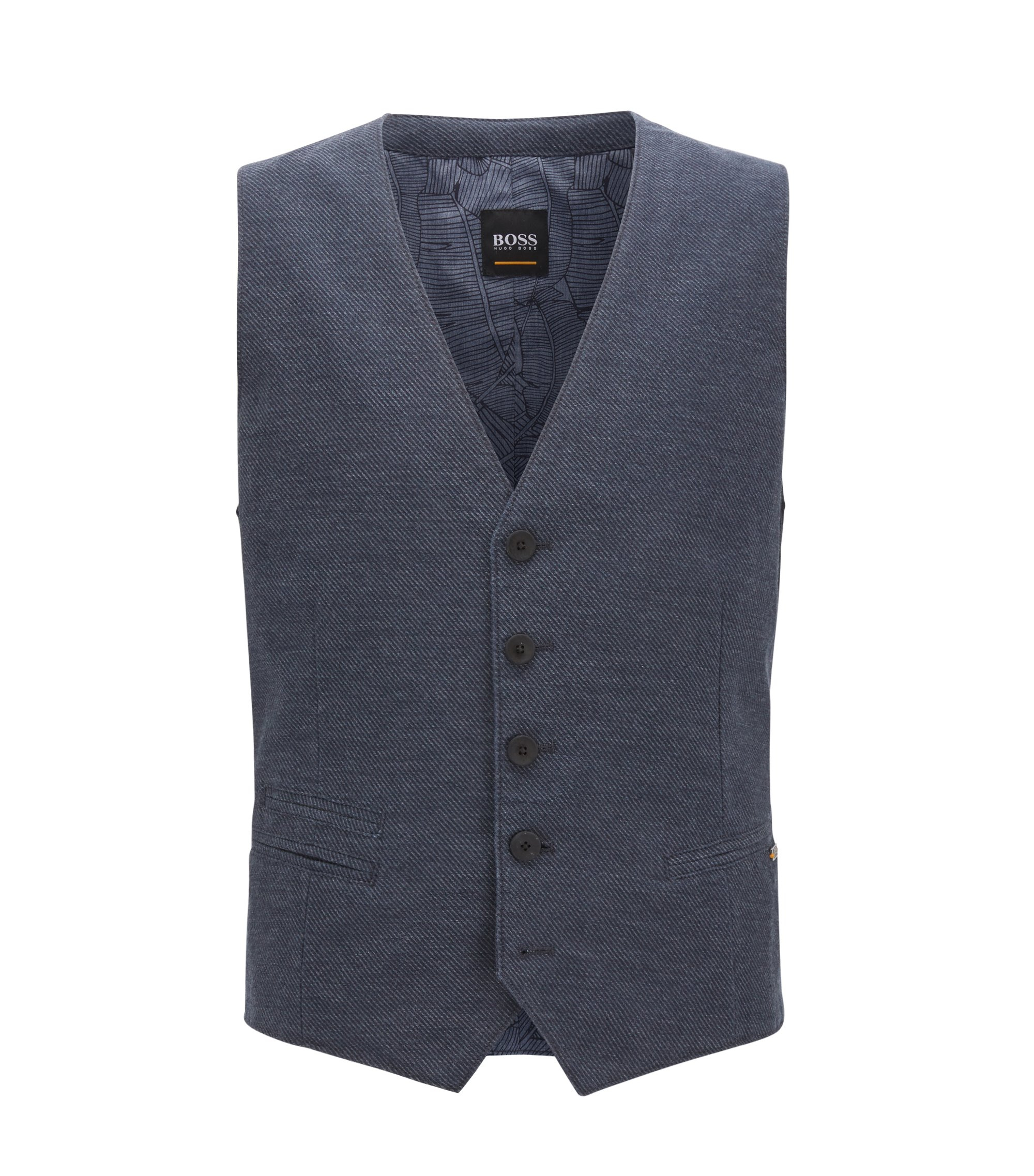Cotton Linen Blend Waistcoat, Slim Fit | Baster BS W, Dark Blue