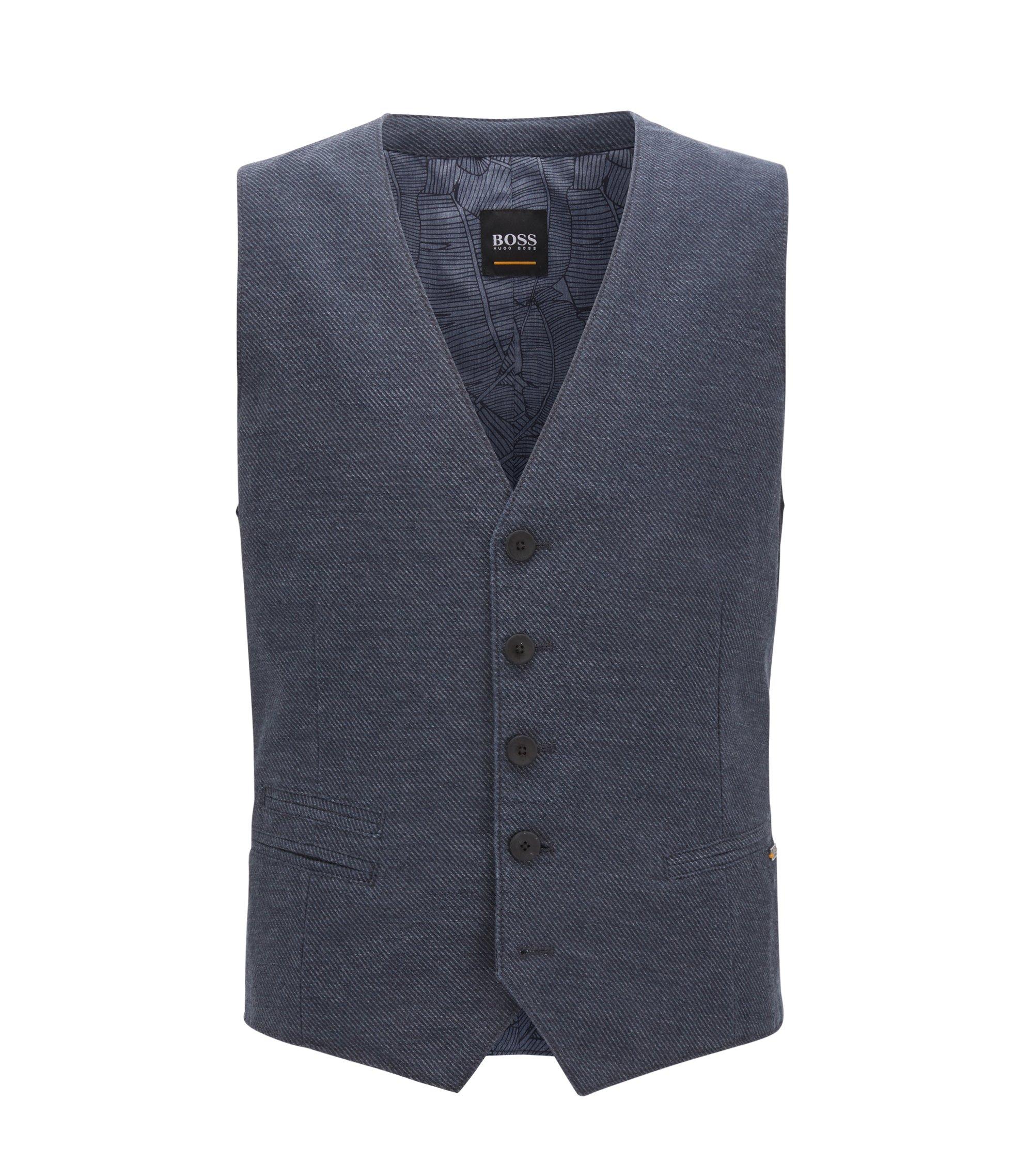Cotton Linen Blend Waistcoat, Slim Fit | Baster BS W, Dark Blue