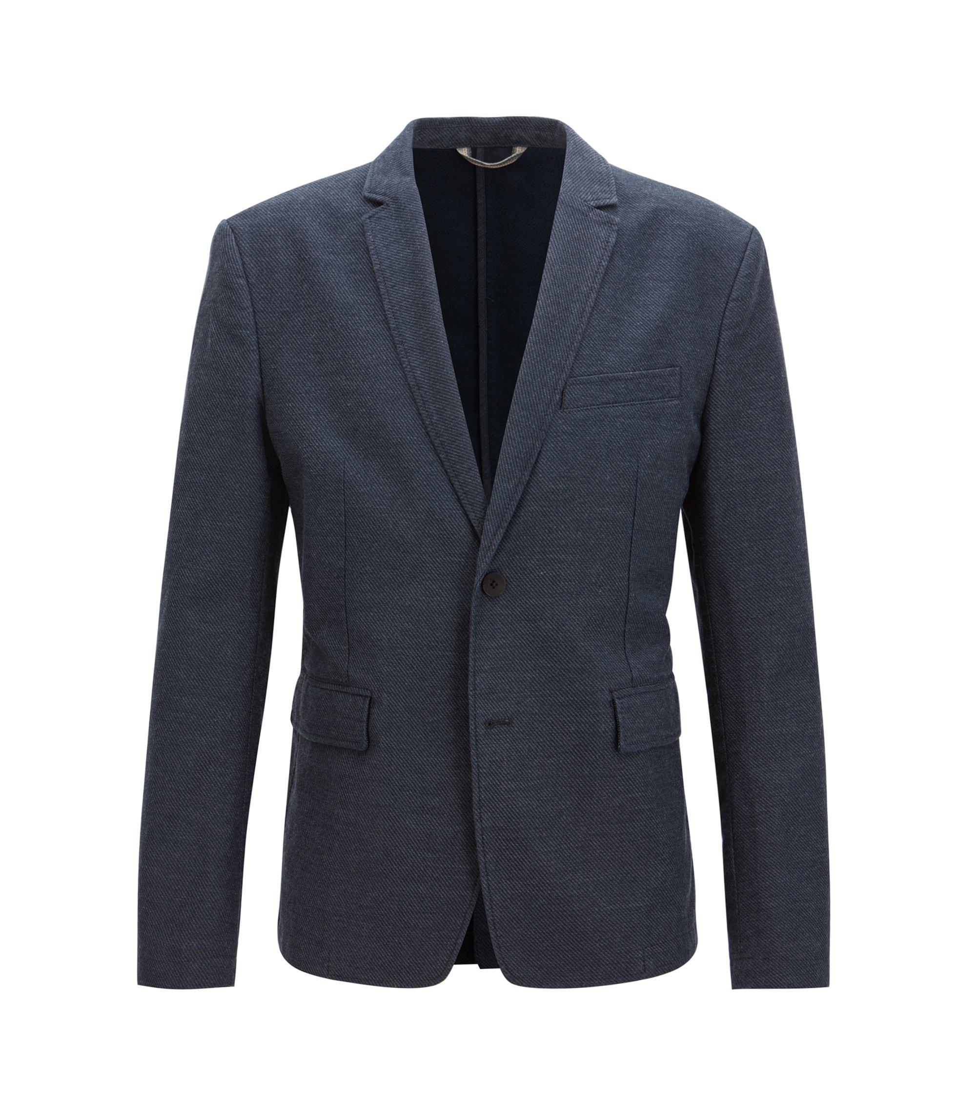 Twill Stretch Cotton Linen Sport Coat, Slim Fit | Bedge BS W, Dark Blue