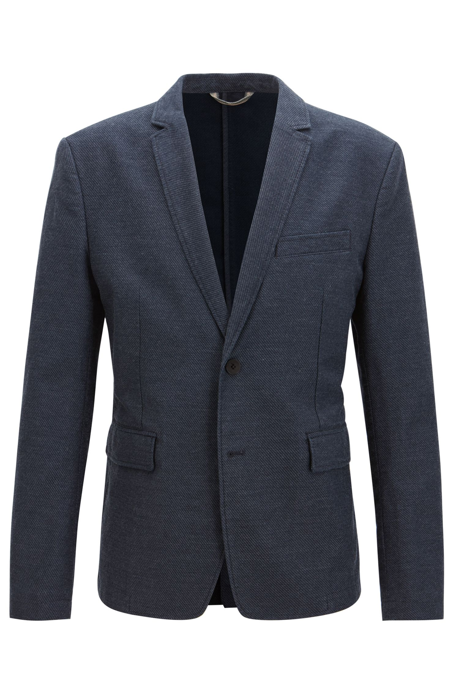 Twill Stretch Cotton Linen Sport Coat, Slim Fit | Bedge BS W, Dark Blue