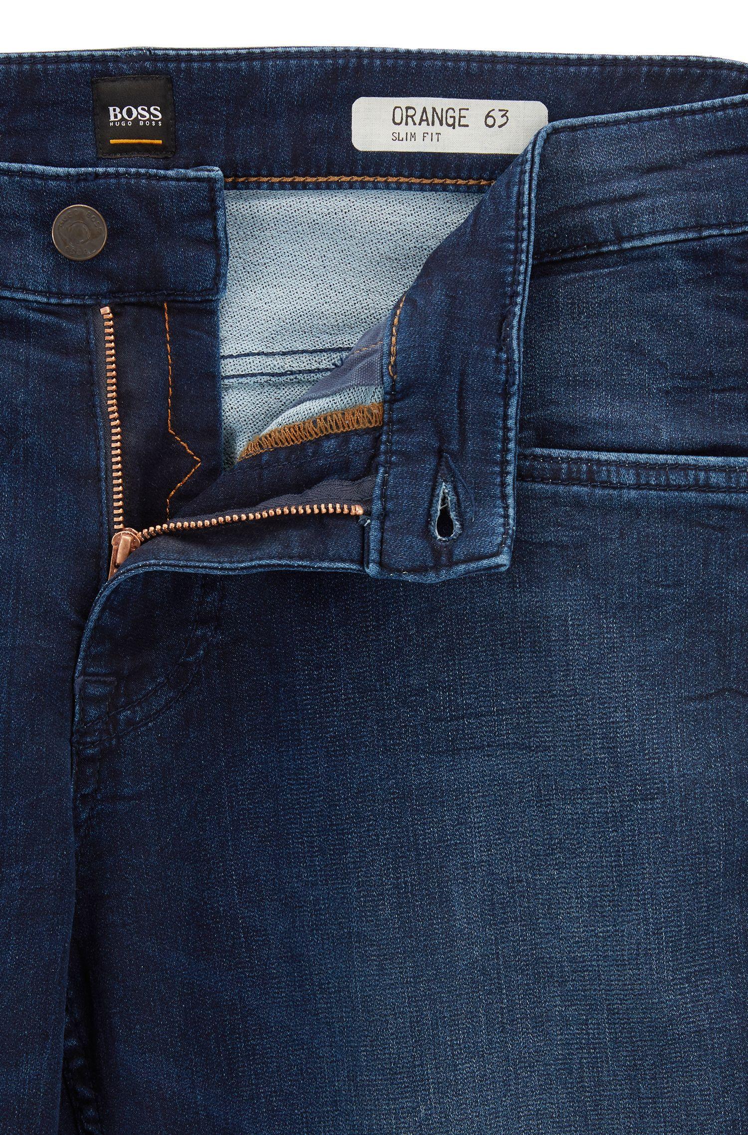 Cotton Blend Jean, Slim Fit   Orange63 Helsinki P, Dark Blue