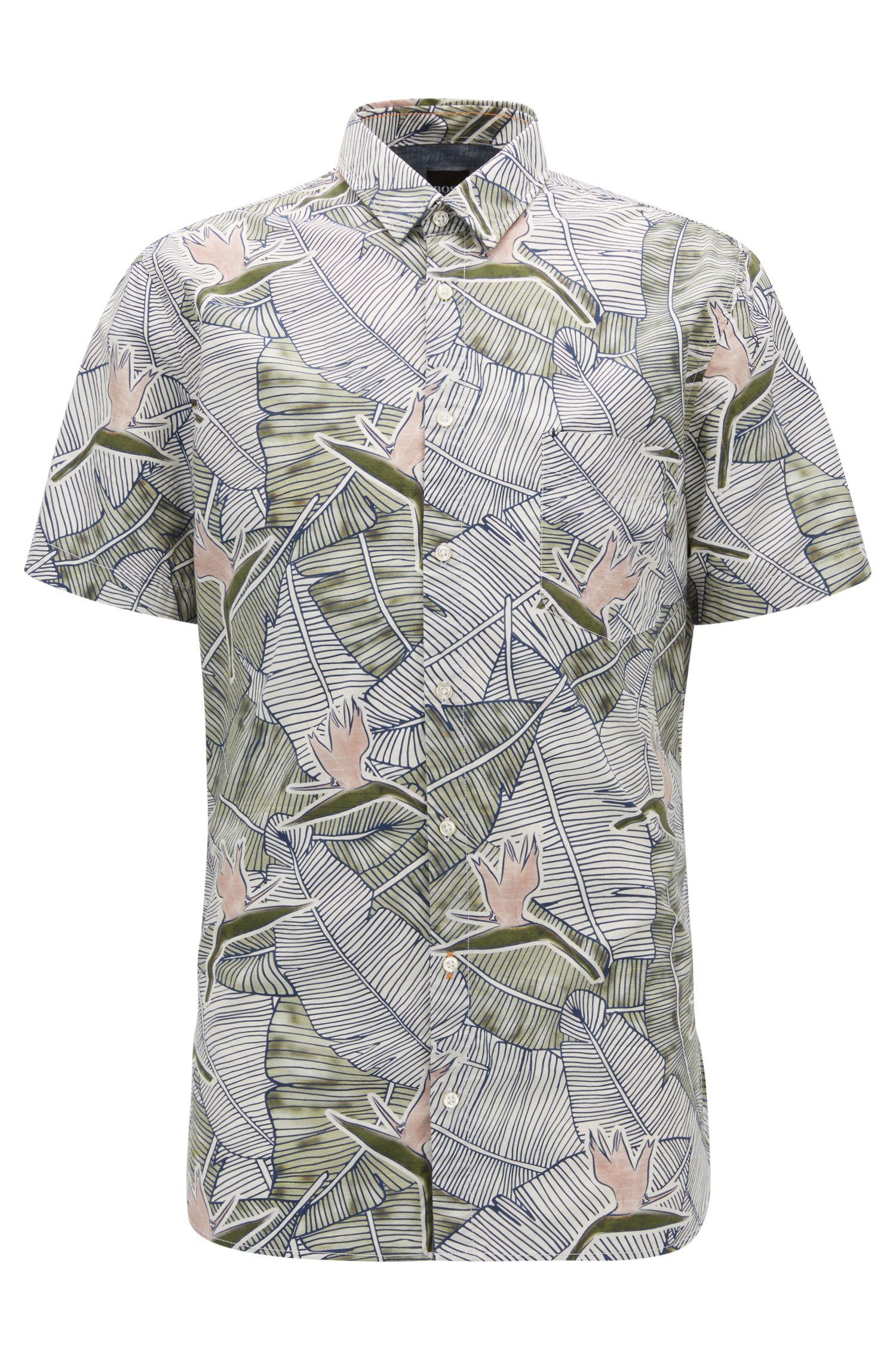 Tropical-Print Cotton Sport Shirt, Slim Fit | Catittude Short