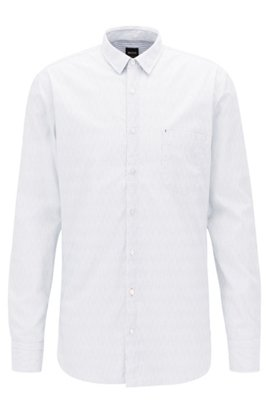 BOSS Hugo Boss Two-color striped shirt in pure Oxford cotton 16.5 Open Blue Limit Discount vJufvLOff4