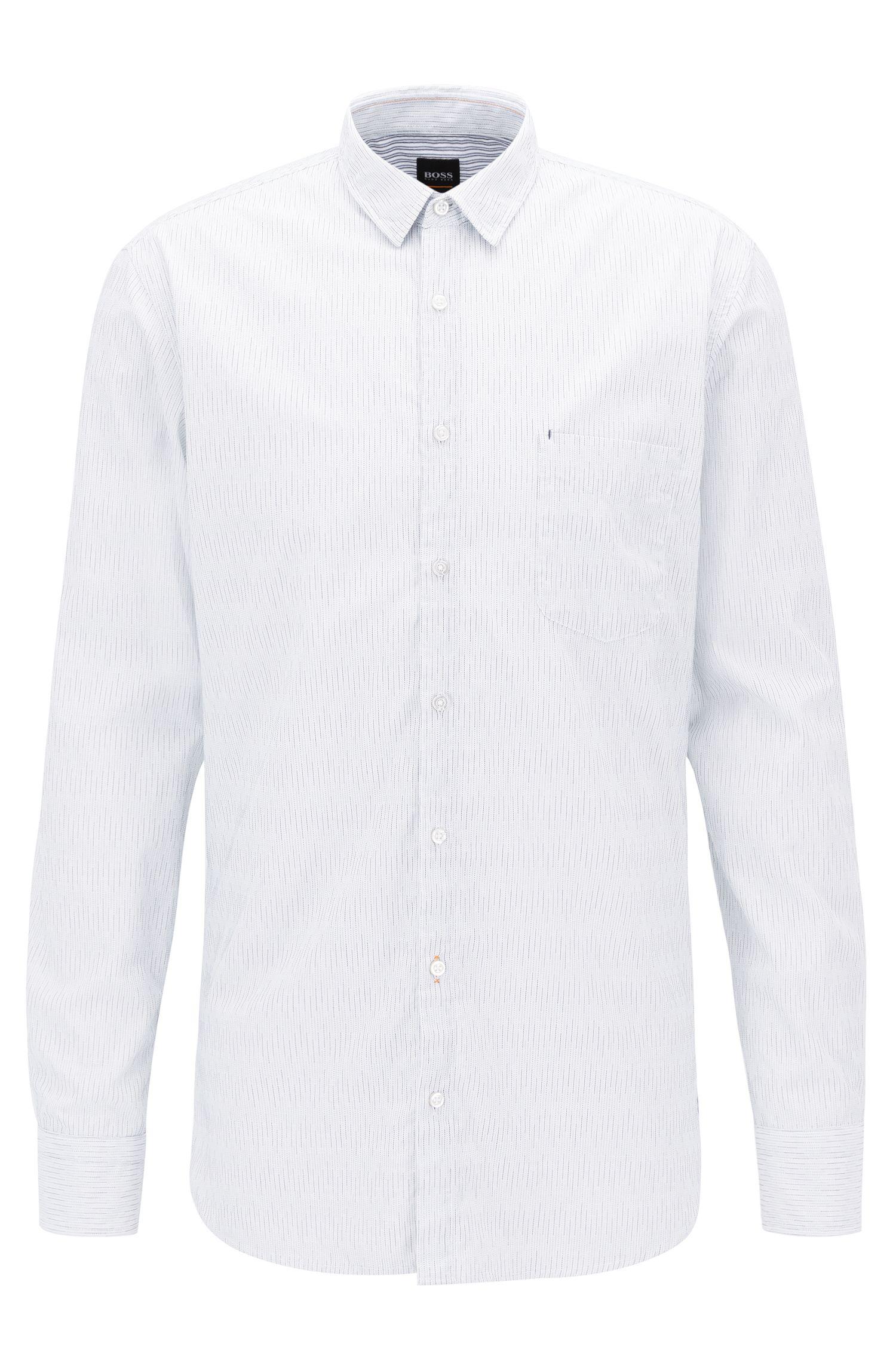 Cotton Broken Stripe Sport Shirt, Slim Fit | Cattitude