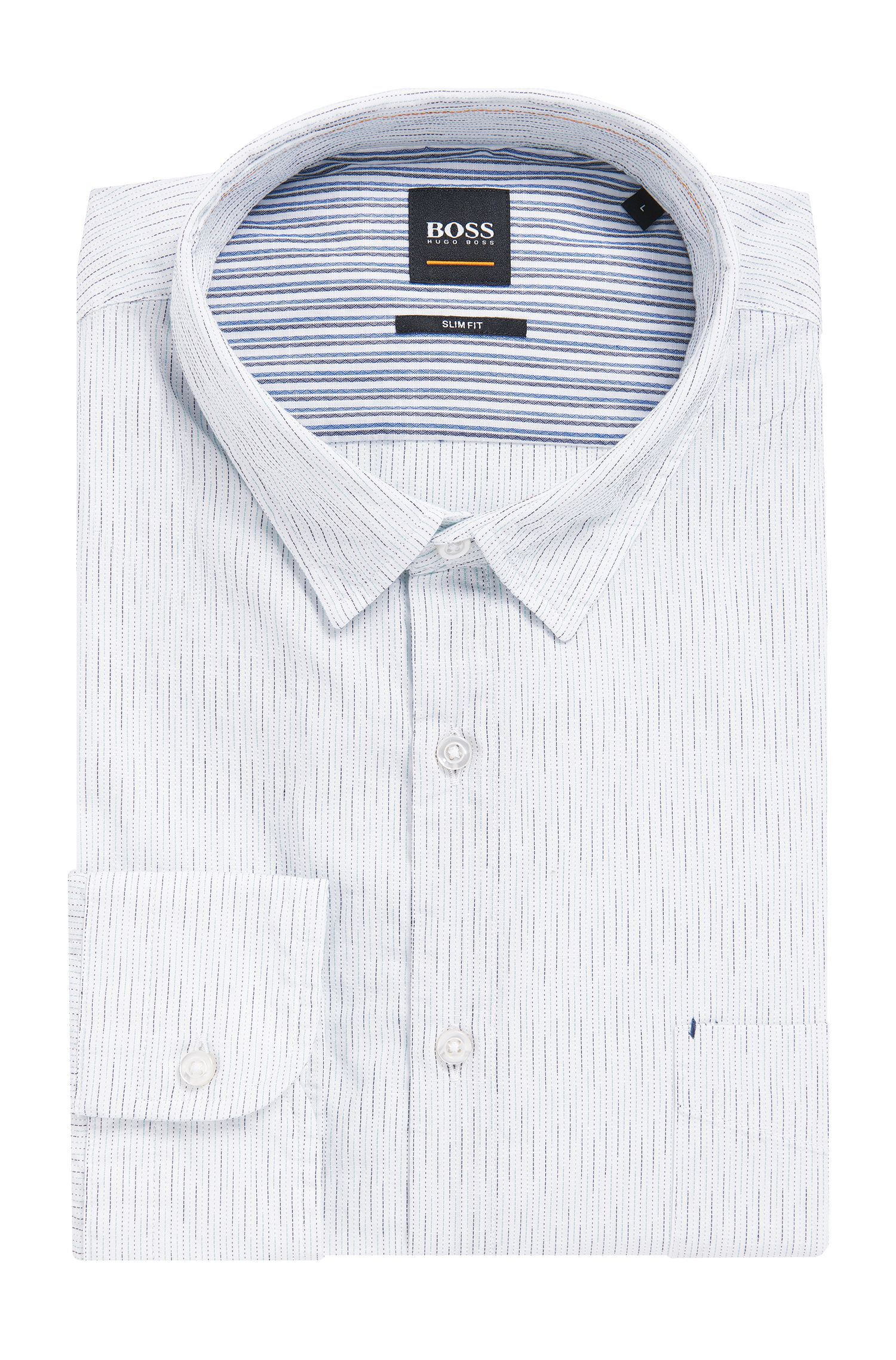 Cotton Broken Stripe Sport Shirt, Slim Fit | Cattitude, White