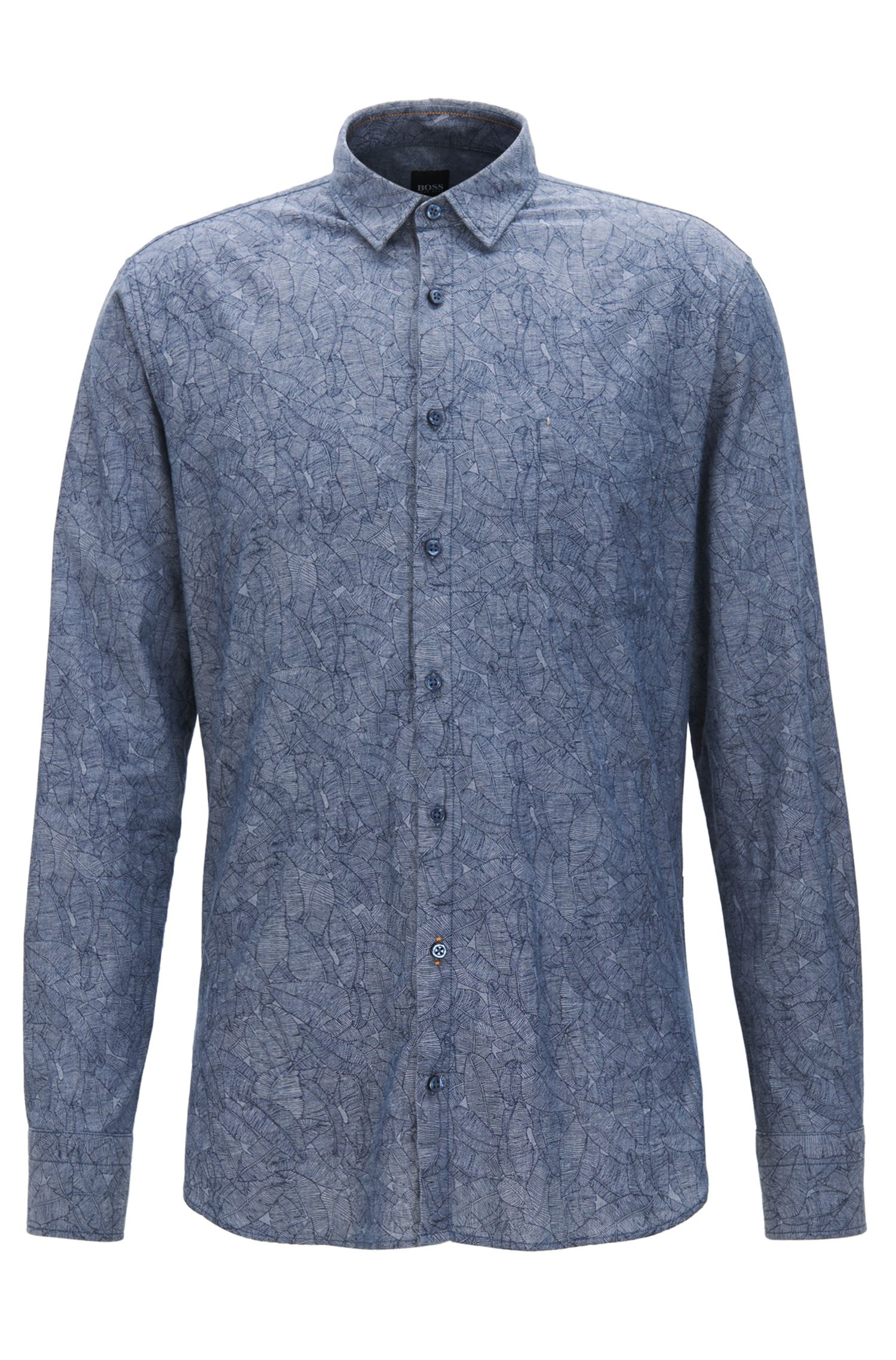 Leaf-Print Chambray Cotton Sport Shirt, Slim Fit | Cattitude, Dark Blue