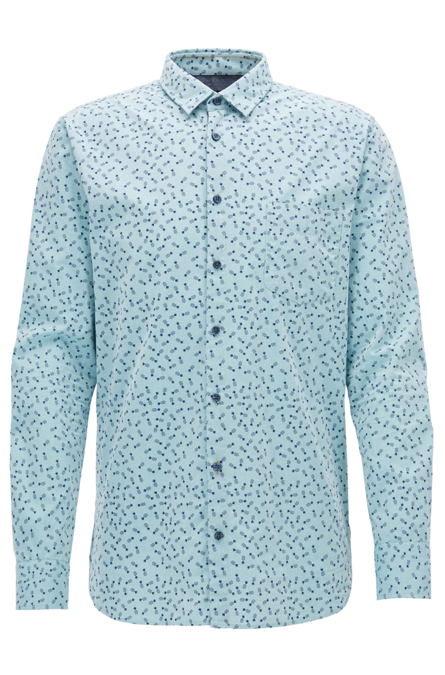 Pineapple Cotton Sport Shirt, Slim Fit | Catitude
